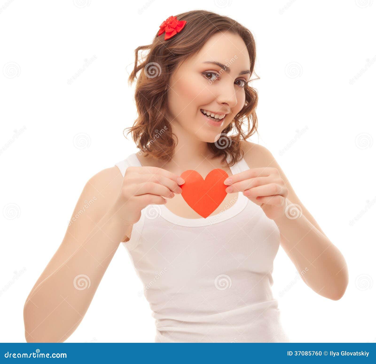 Download Piękna Kobieta Z Valentines Kartą Zdjęcie Stock - Obraz złożonej z dziewczyna, ciało: 37085760
