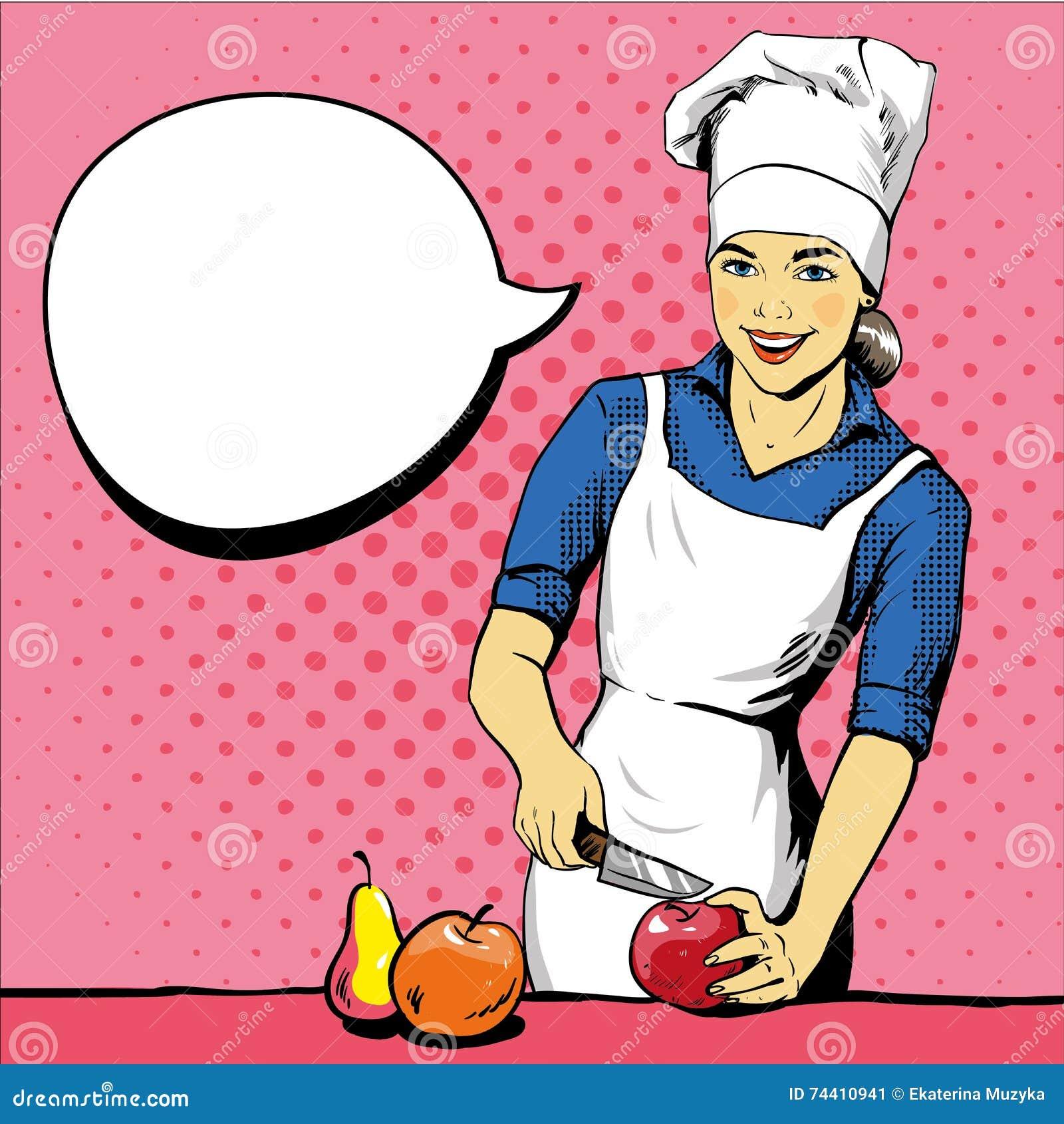 Piękna kulinarna kobieta Wektorowa ilustracja w retro wystrzał sztuki stylu Żeński szef kuchni w mundurze Restauracyjny pojęcie