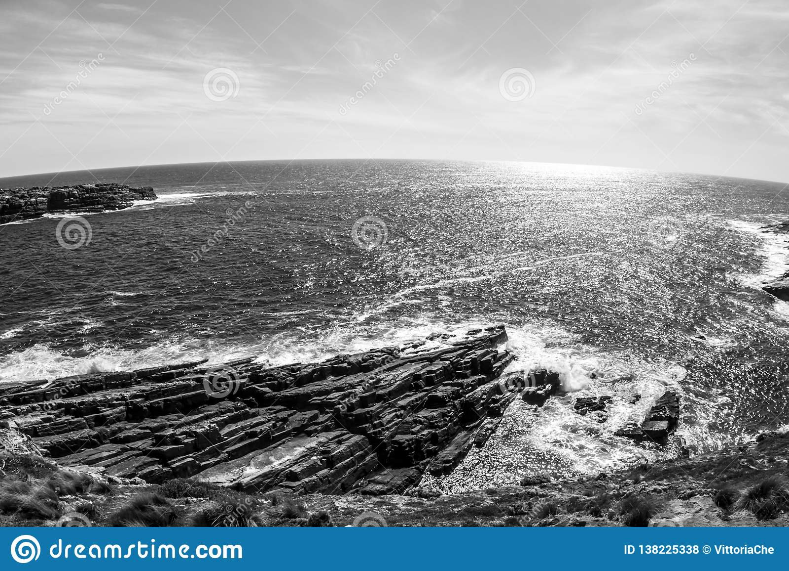 Piękna linia brzegowa przy zmierzchem, Południowy Australia, kangur wyspa Fisheye wizerunek