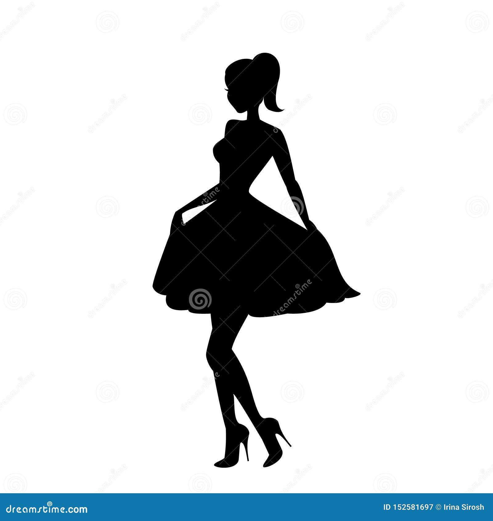 Piękna młoda dziewczyna pozuje dla kamery ikony wektoru, flirtuje kobieta logo, splendoru model, dziewczyna przy przyjęciem