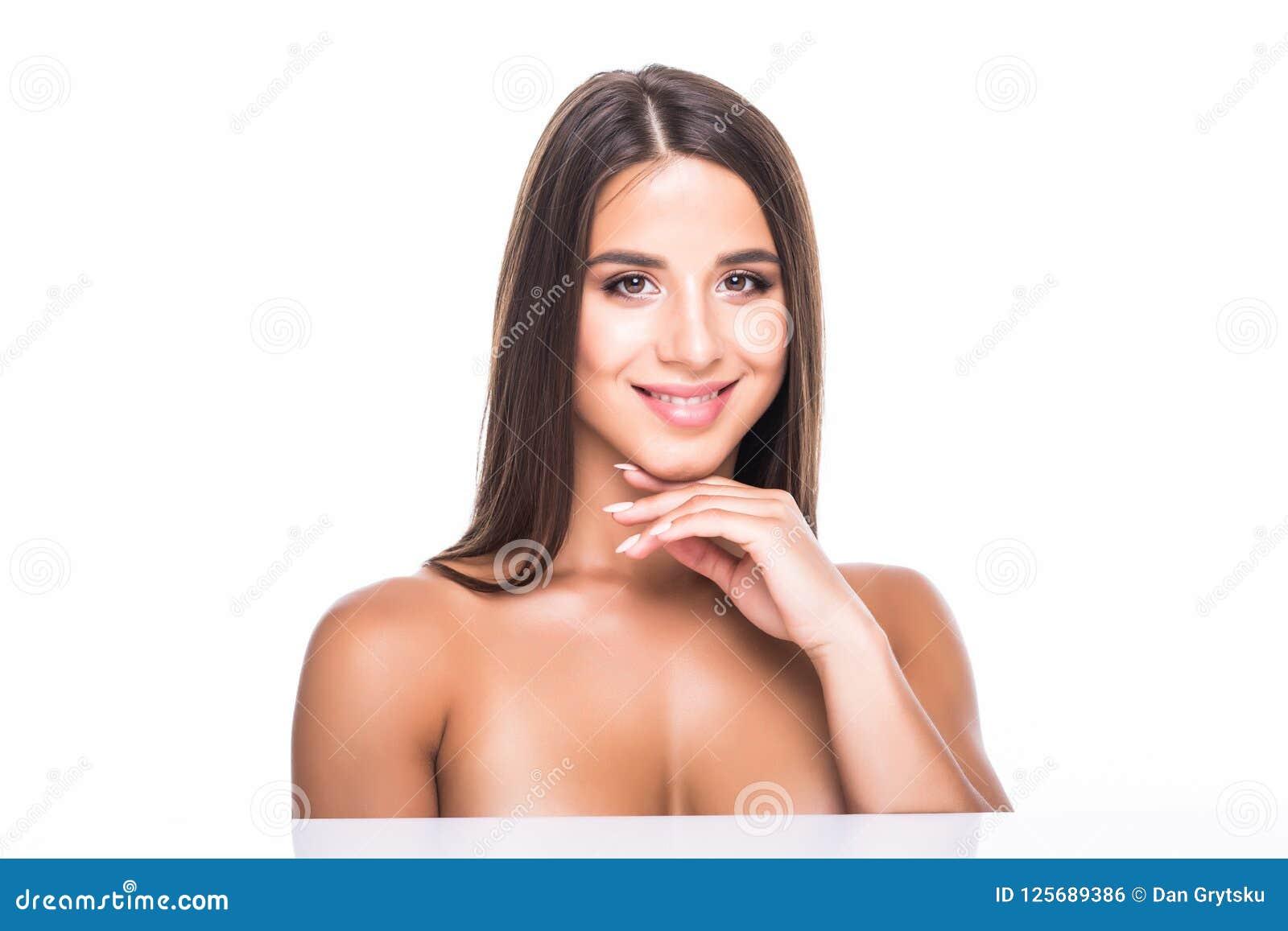 Piękna młoda kobieta z czystą świeżą skórą Dziewczyny piękna twarzy opieka Twarzowy traktowanie Kosmetologia, piękno i zdrój,