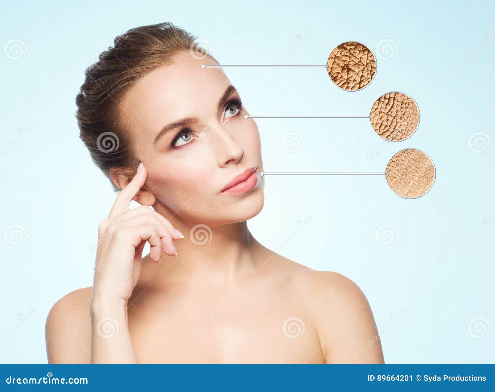 Piękna młodej kobiety twarz z suchej skóry próbką