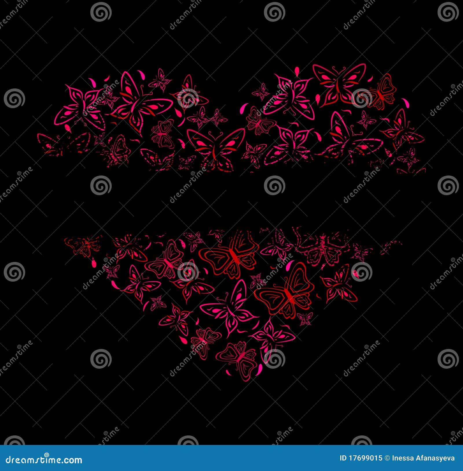 Piękna motyli serca czerwień