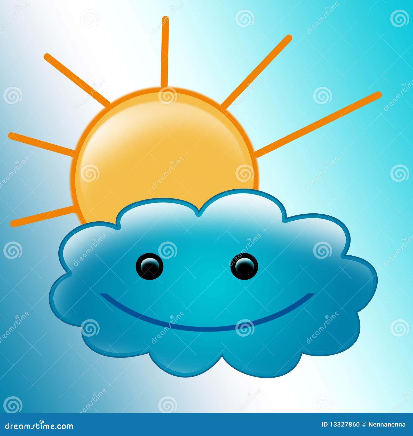Piękna obłoczna śliczna ilustracja uśmiechał się słońce