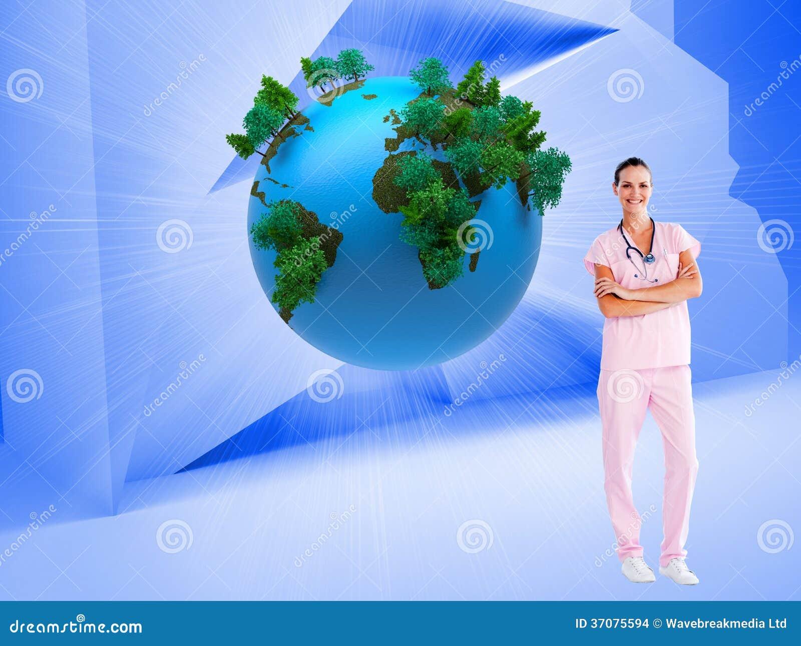 Download Piękna Pielęgniarki Pozycja Przed Kamerą Z Fałdowymi Rękami Ilustracji - Ilustracja złożonej z tekstura, potomstwa: 37075594