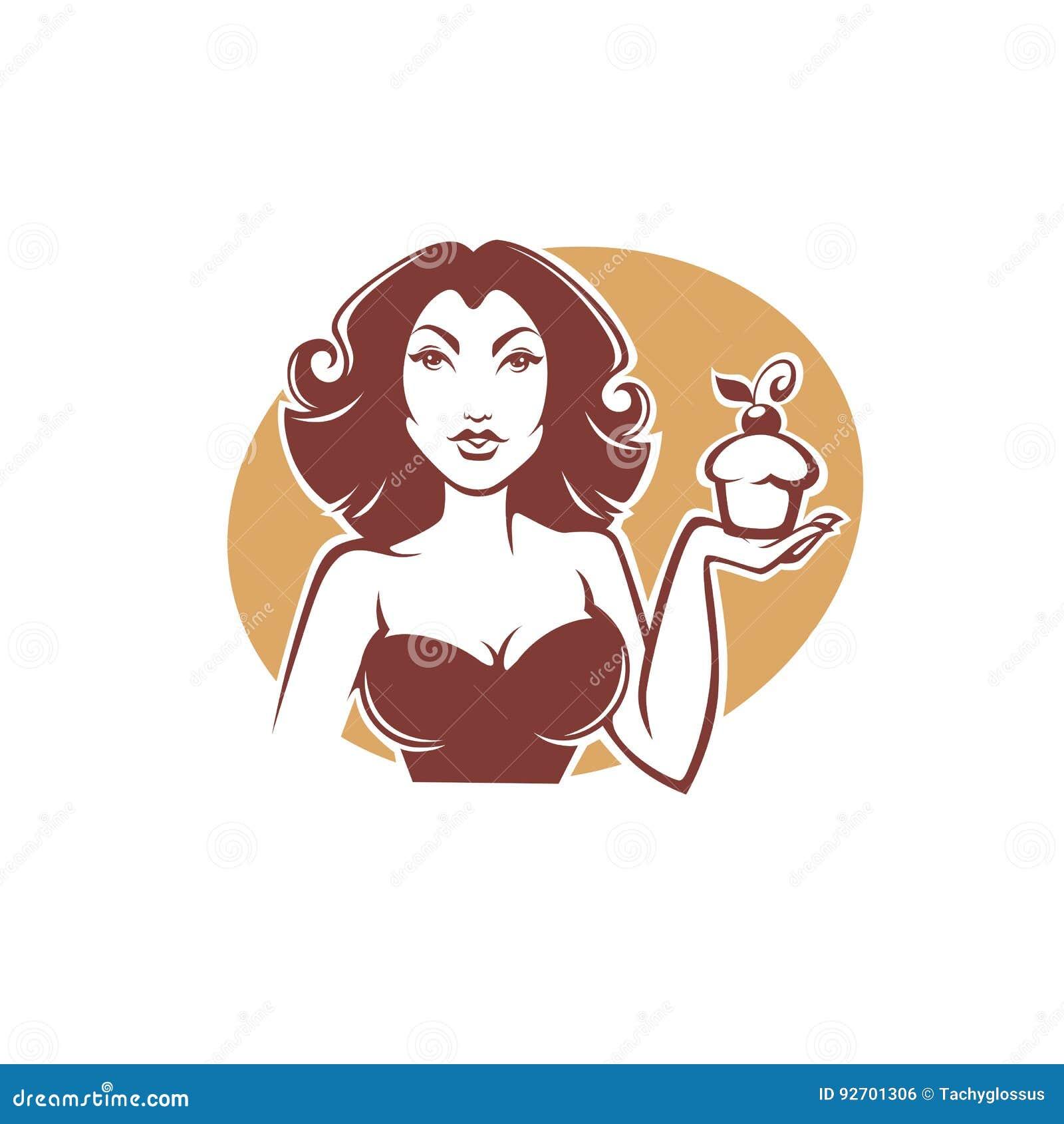 Piękna pinup retro dziewczyna trzyma wyśmienicie smakowitą babeczkę