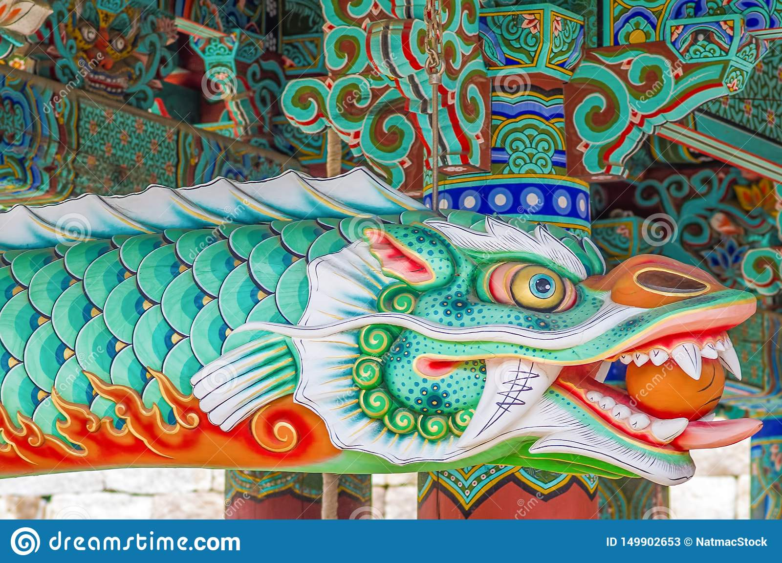 Piękna smok istota z żywymi kolorami korea południowa - Haeinsa UNESCO światowego dziedzictwa Świątynna lista -