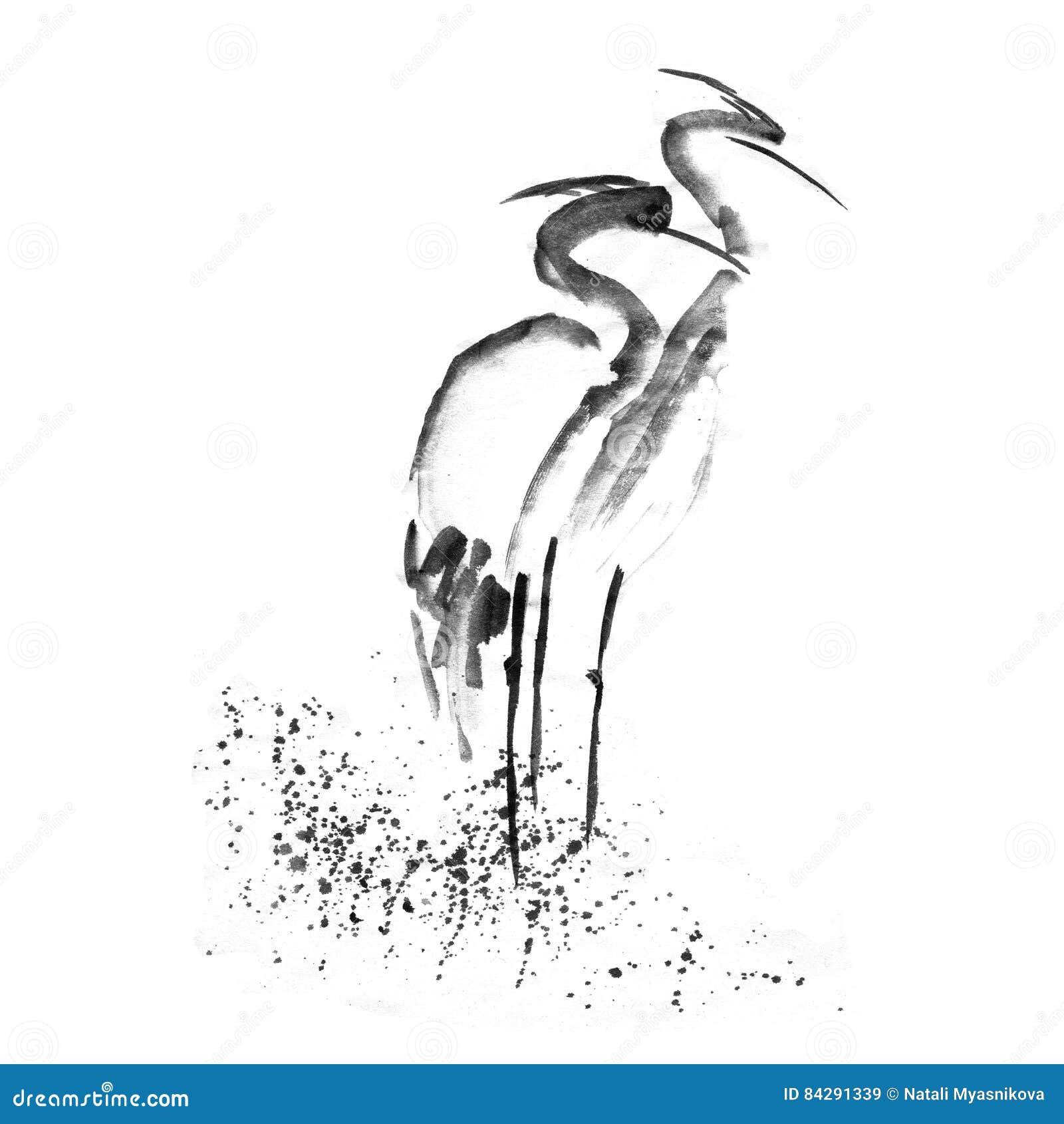 Piękna szarmancka bocianowa Czaplia dźwigowa miłość Antyczny monochromatyczny czarny atrament Japoński obrazu sumi-e