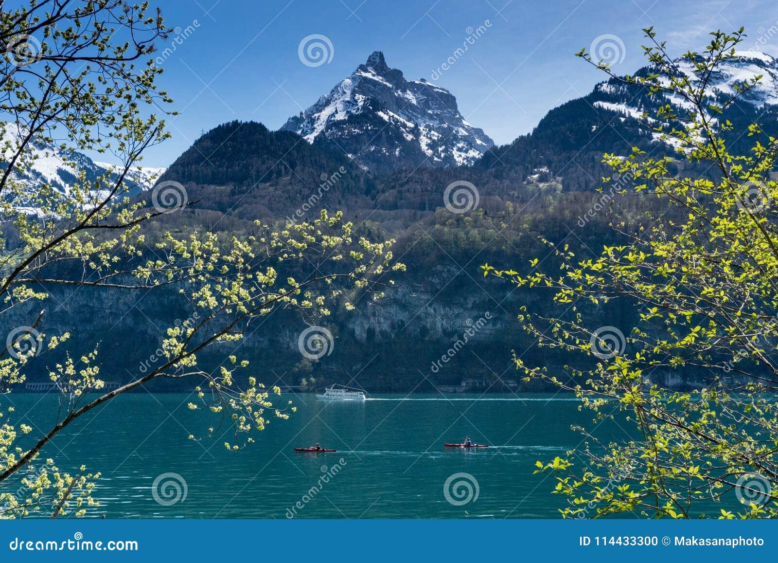 Piękna turkusowa halna jeziorna panorama z śnieżystymi szczytami, zielonymi łąki, lasy i łodzie na jeziorze