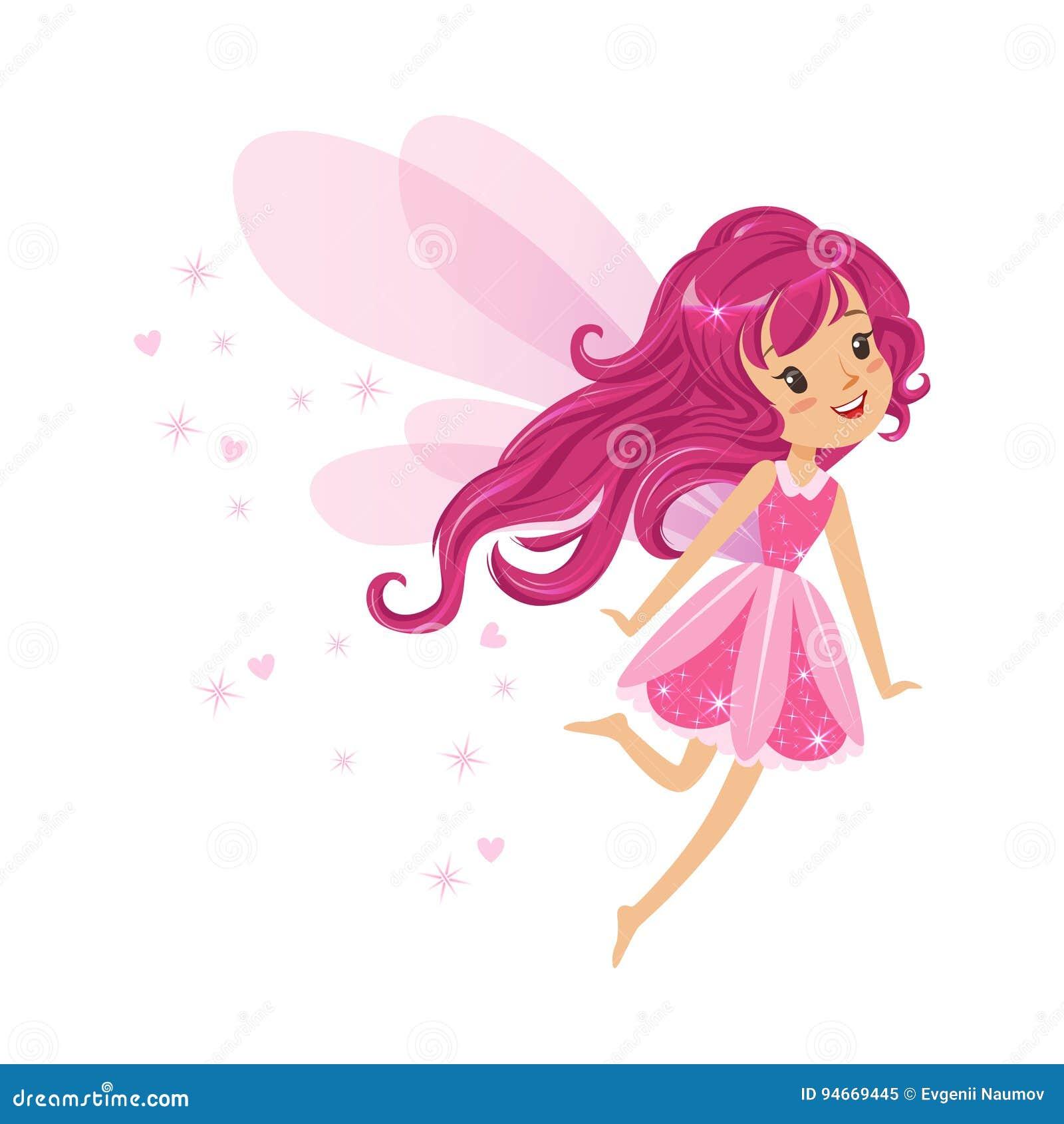 Piękna uśmiechnięta różowa Czarodziejska dziewczyna lata kolorową postać z kreskówki wektoru ilustrację
