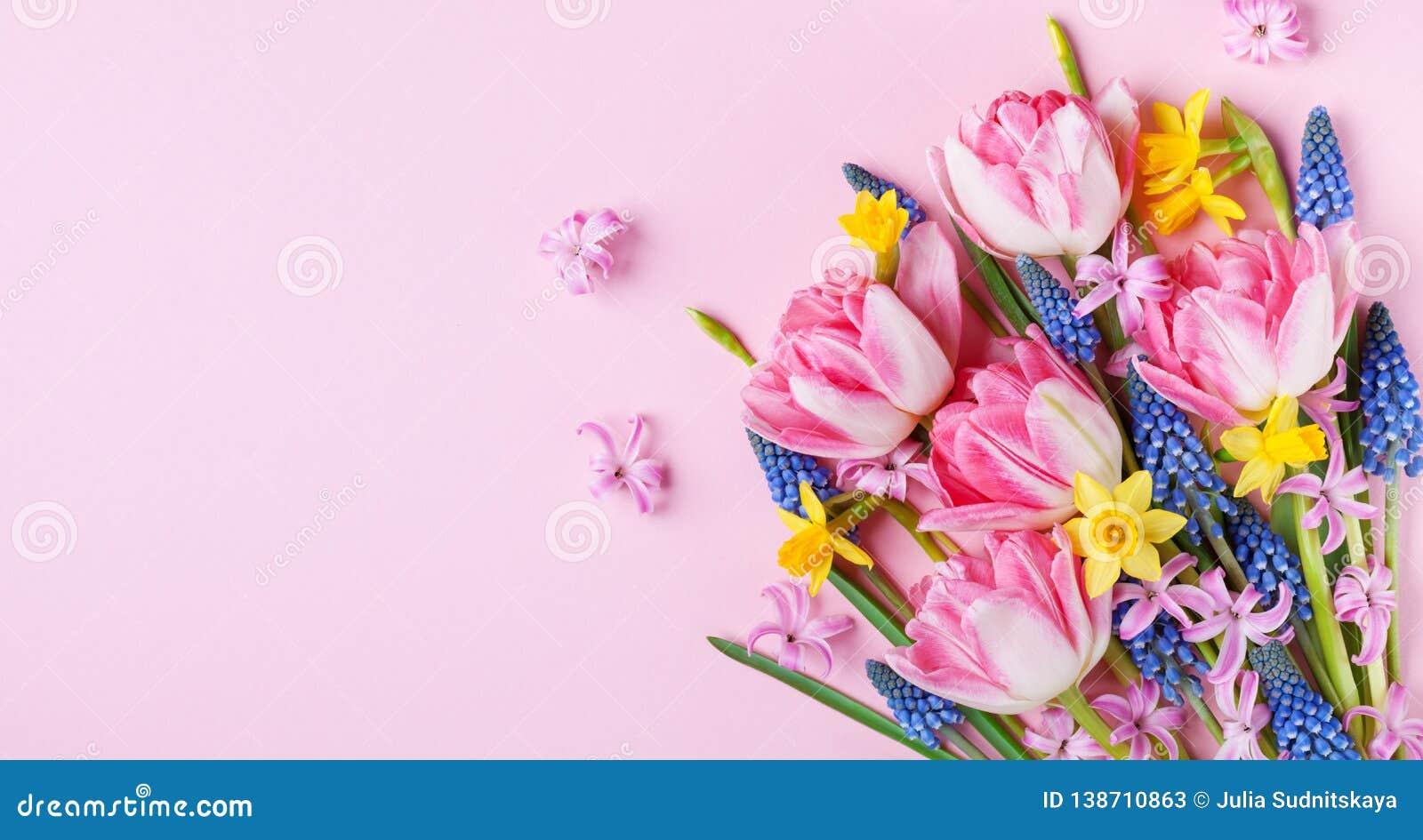 Piękna wiosna kwitnie na pastelowych menchii stołu odgórnym widoku Kartka z pozdrowieniami lub sztandar dla Międzynarodowego kobi