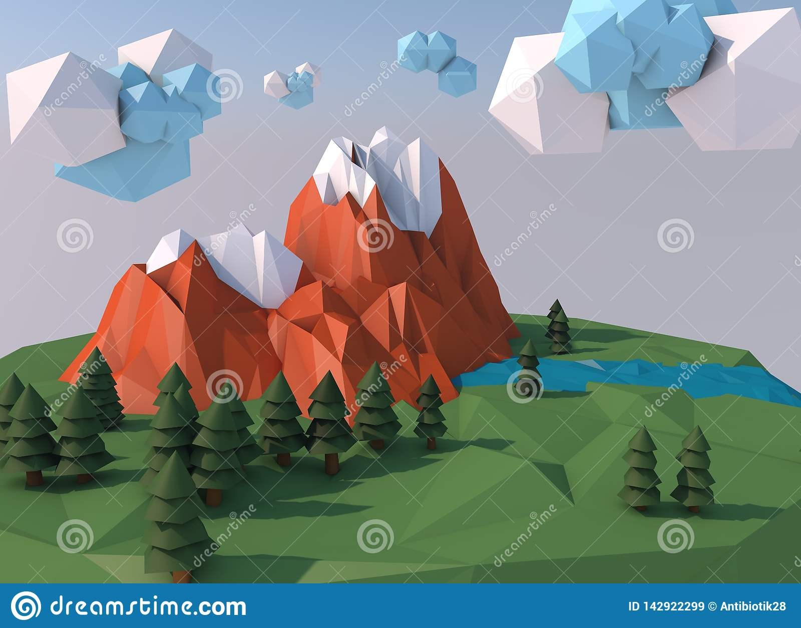 Piękna wyspa z chmurami Niscy poli- 3D odpłacają się