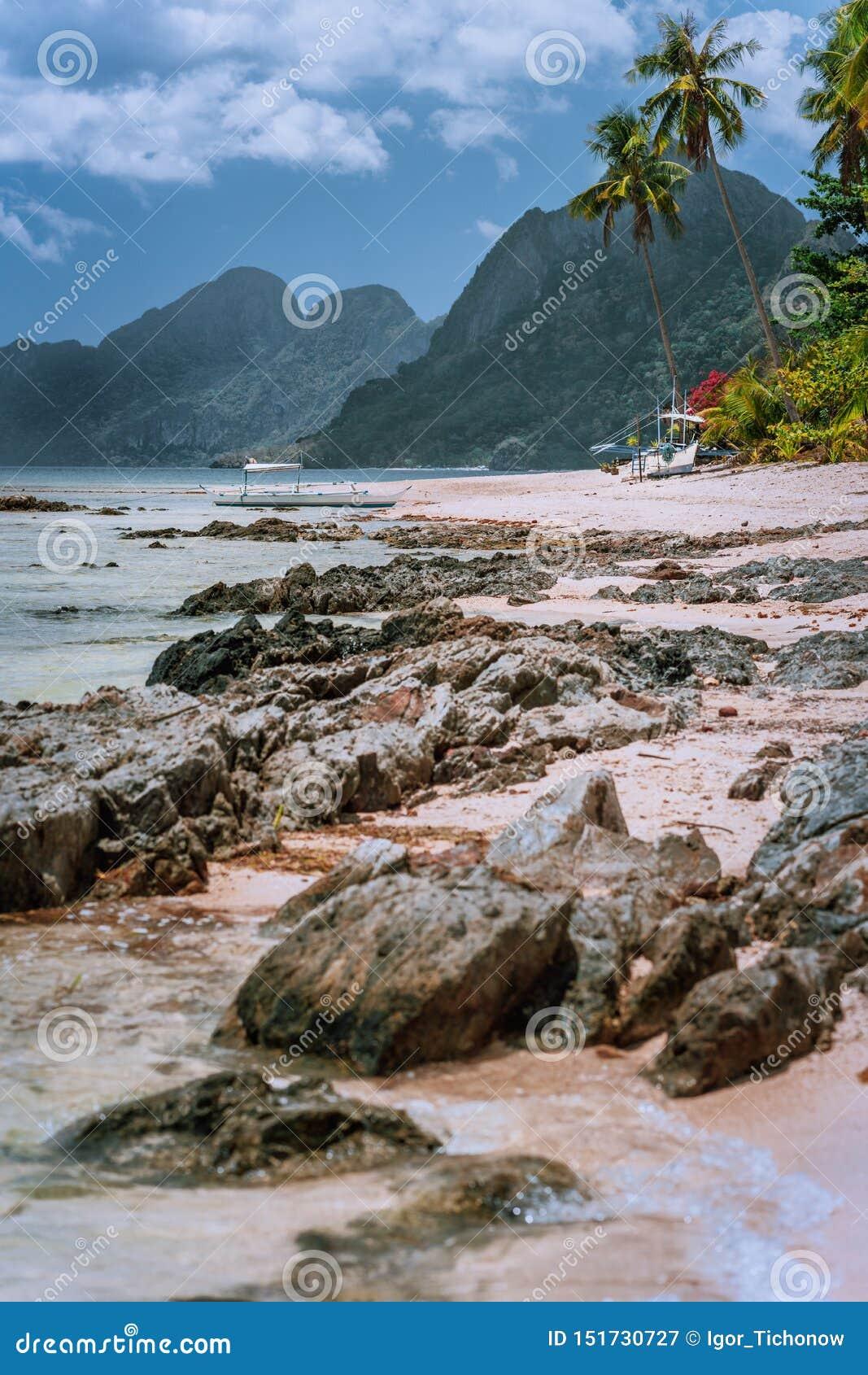 Piękna zadziwiająca natury sceneria Tropikalny krajobraz w Filipiny plaża z wielkimi górami w czasie odpływu morza _
