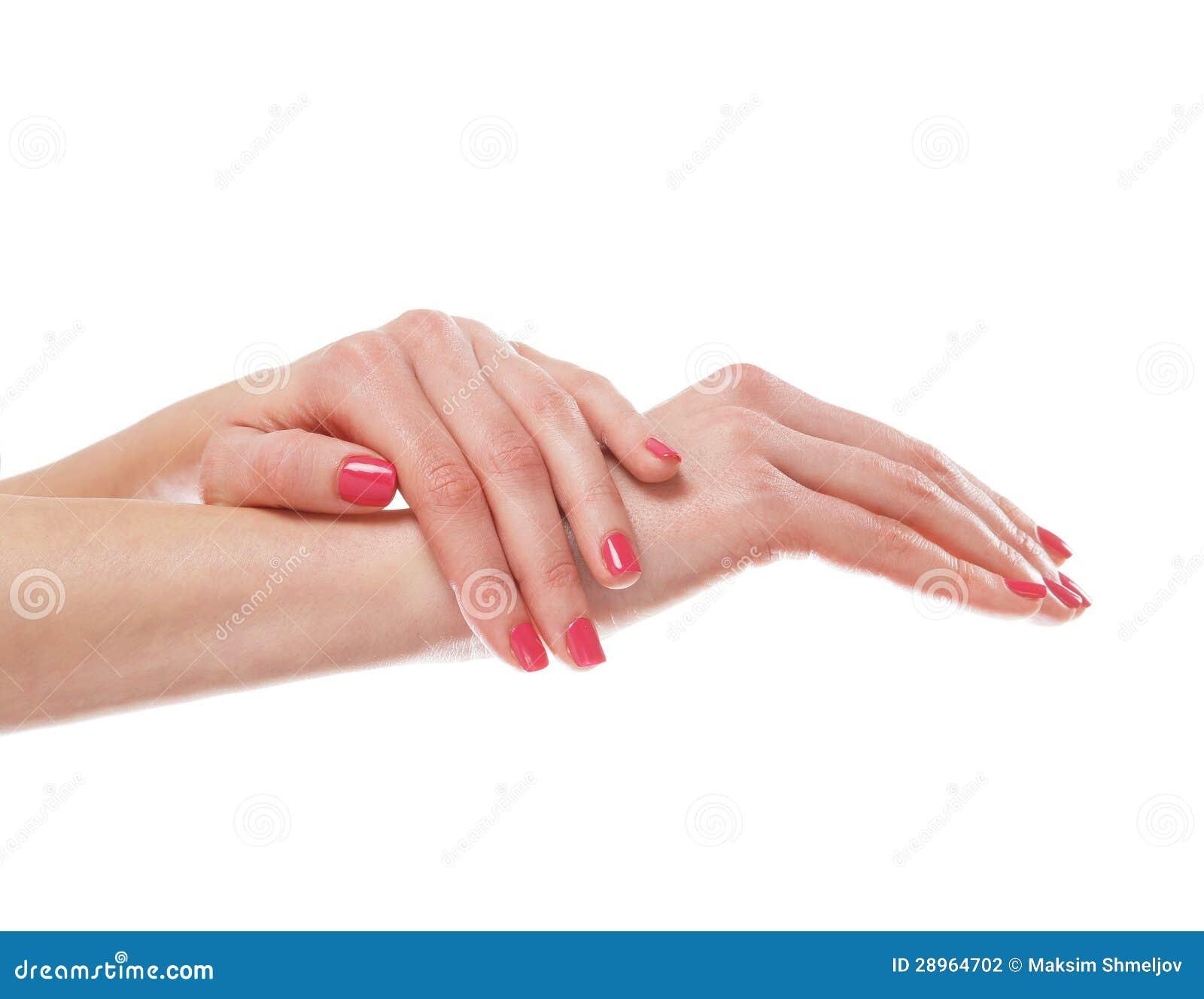 Piękne żeńskie ręki z menchiami robią manikiur na bielu