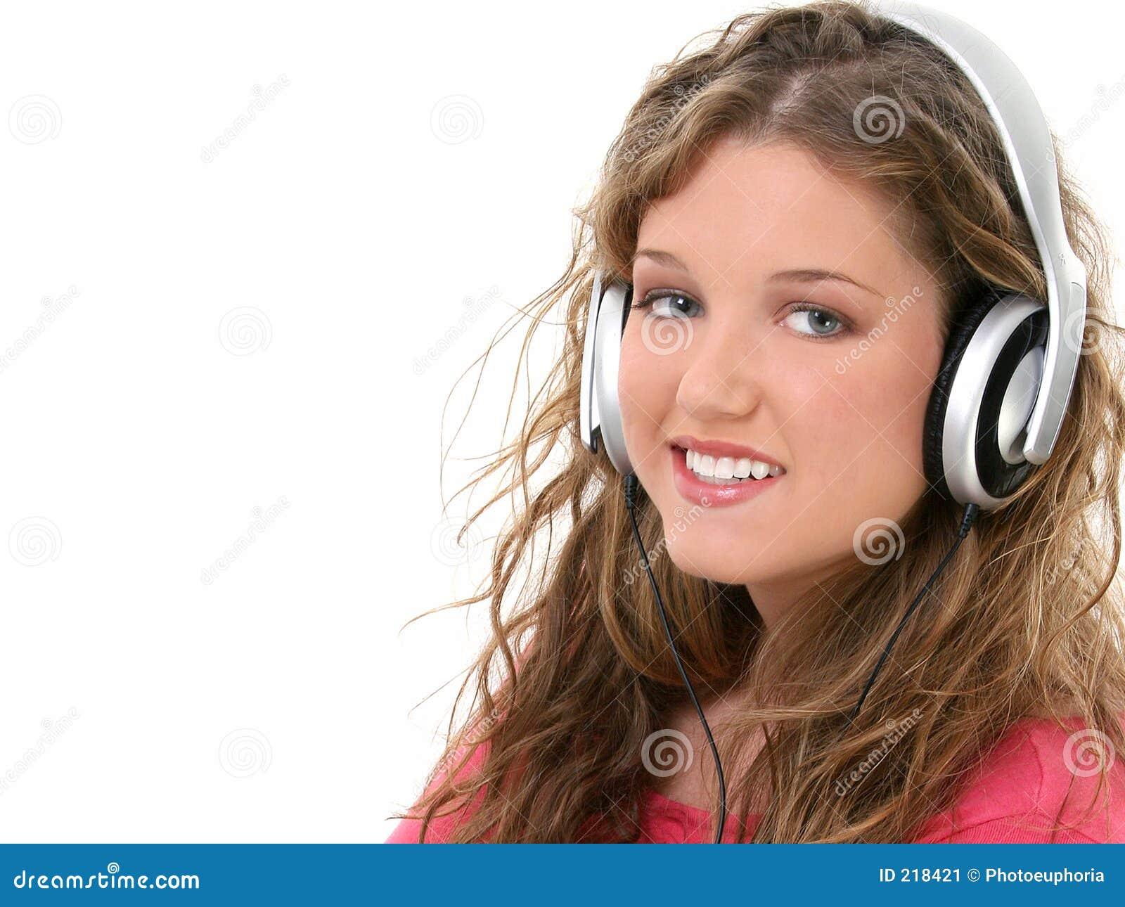 Piękne dziewczyny słuchawki nastolatków.