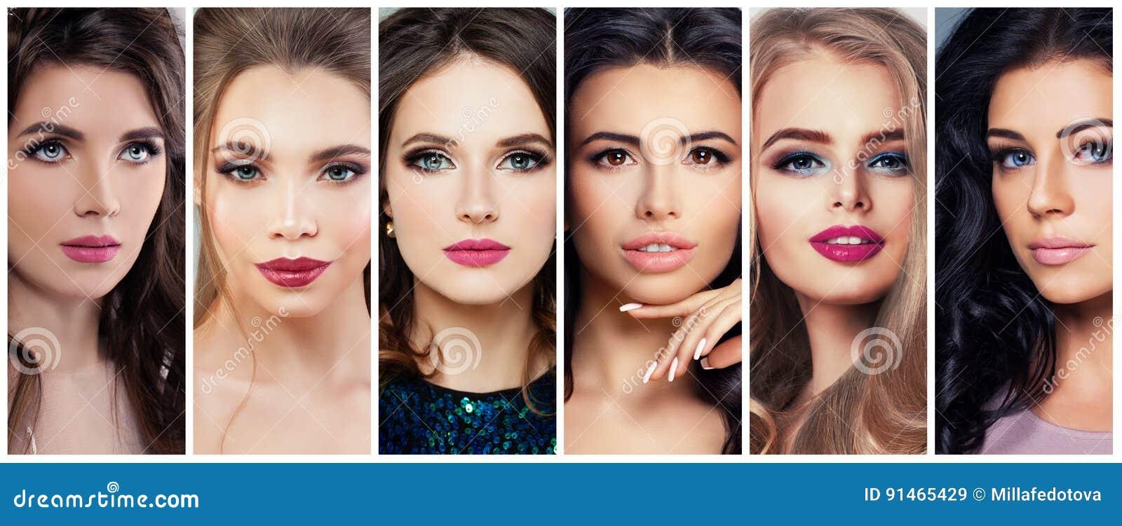 Piękne kobiety z Perfect Makeup Piękno kolaż, Śliczne twarze