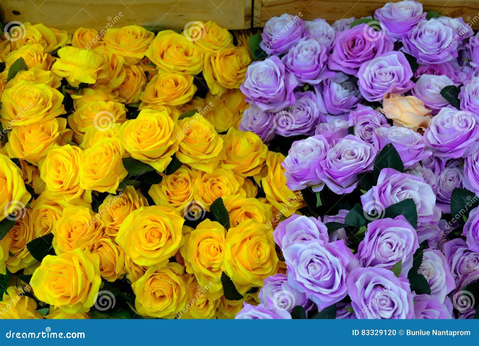 Piękne kwiaty bukietów Żółci ranunculus kwiaty, scabi i