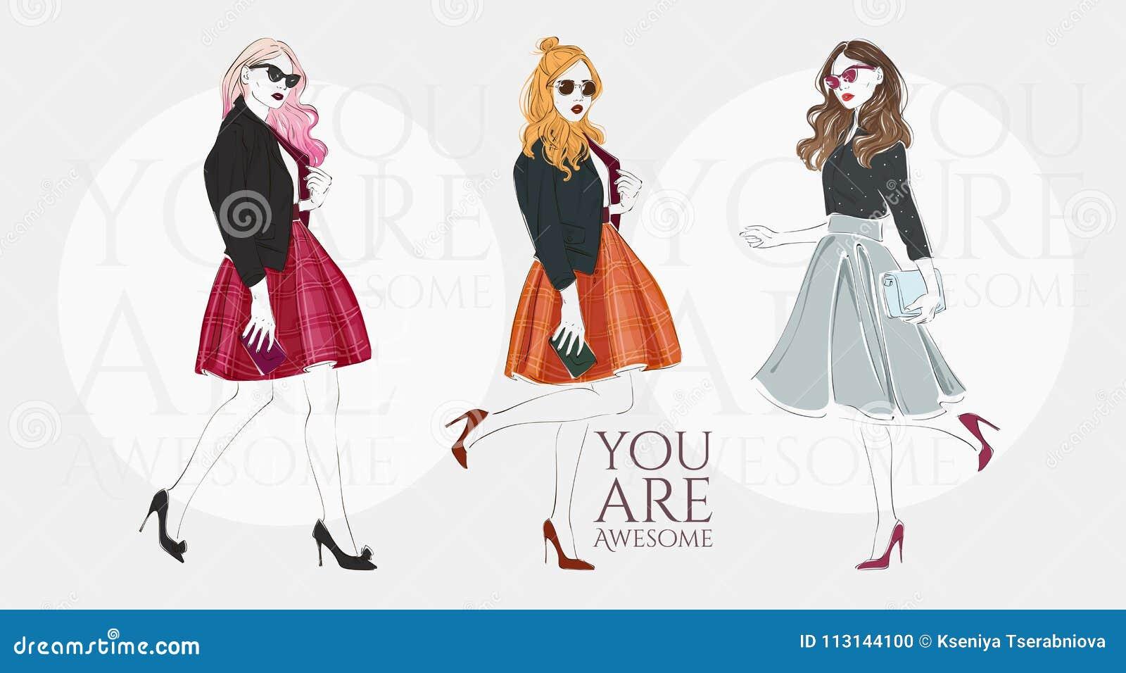 Piękne młode kobiety w modzie retro odziewają z torbą na szpilkach Wektorowa ręka rysująca ilustracja