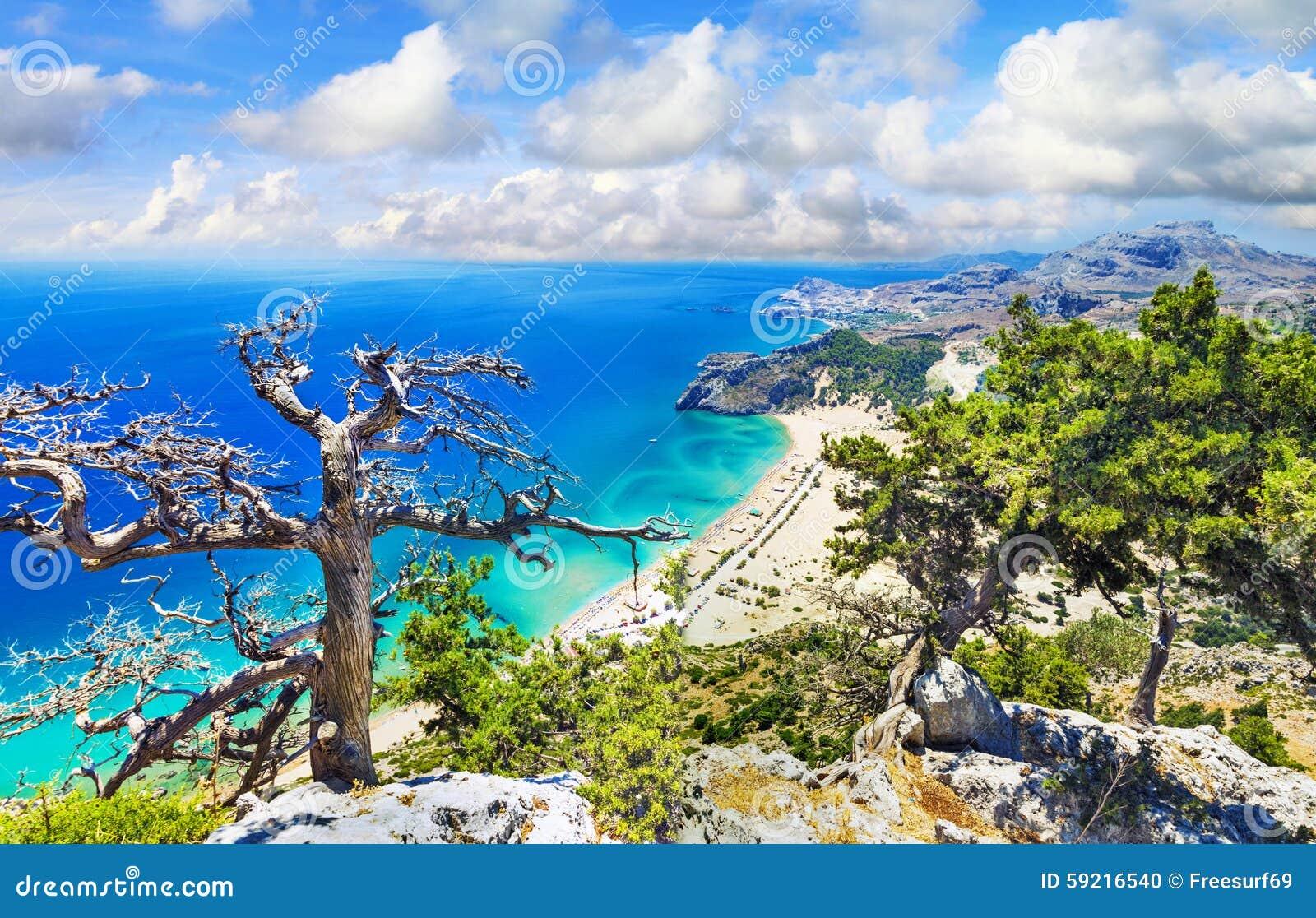 Piękne plaże Grecja, Rhodes wyspa