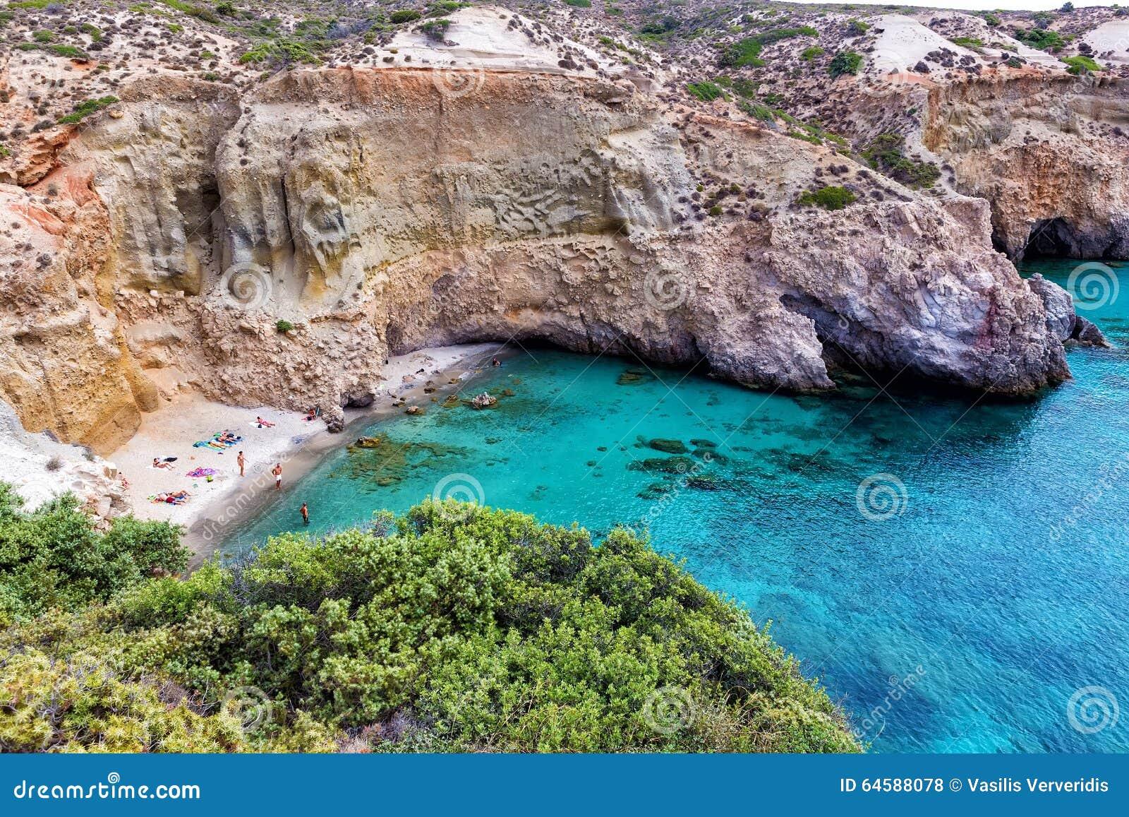 Piękne plaże Grecja, Tsigrado -, Milos wyspa