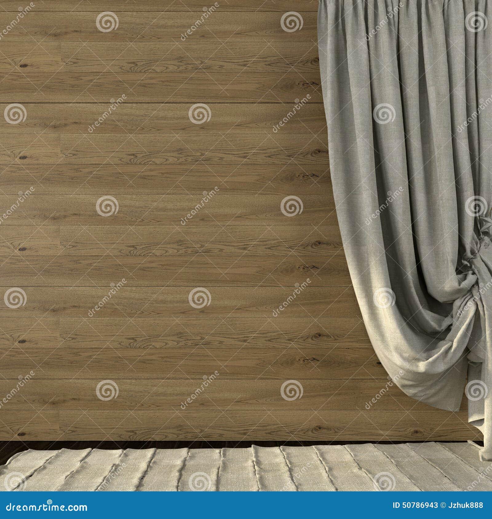 Piękne zasłony robić pościel na tle drewniany wal
