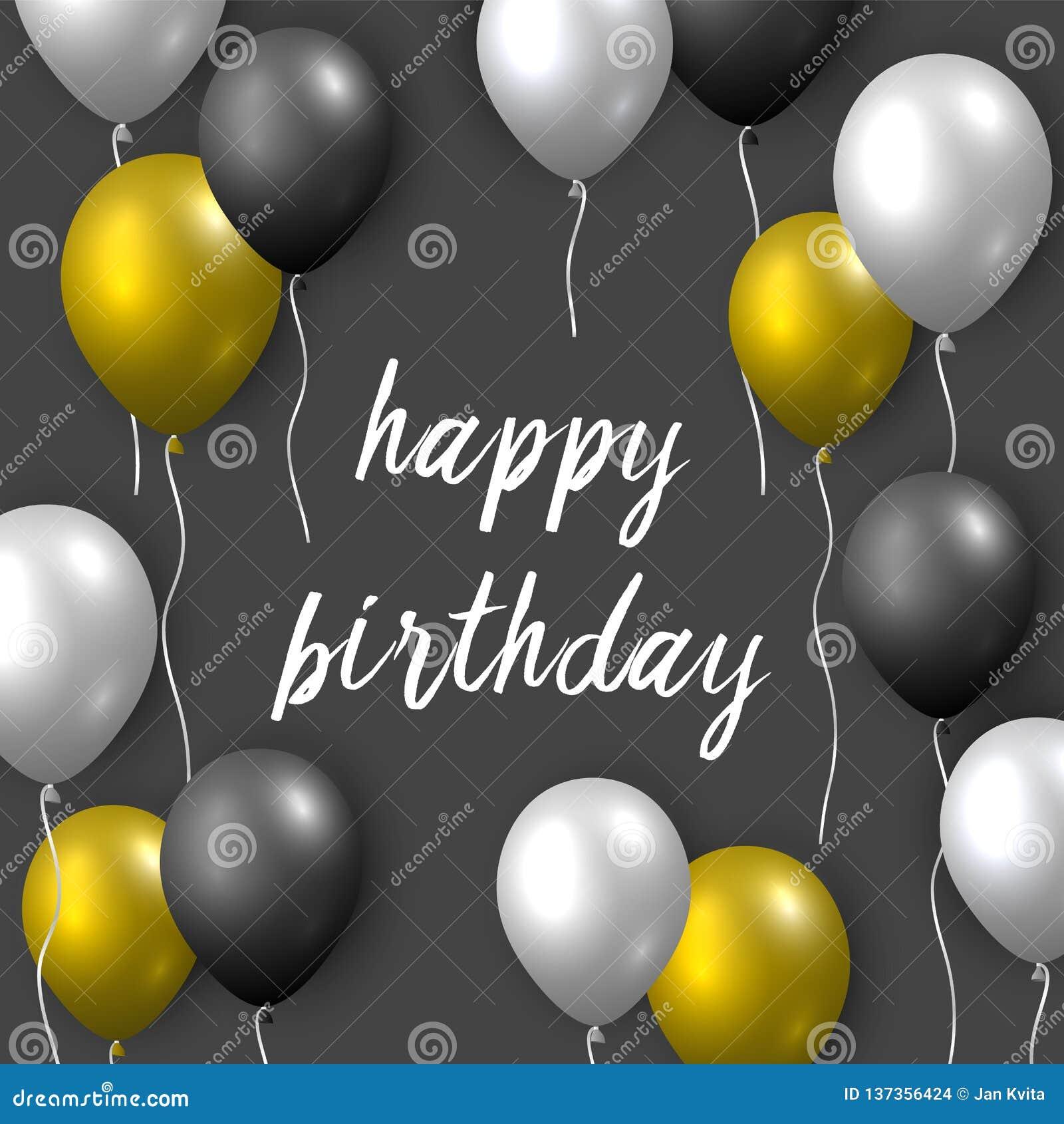 Pięknego realistycznego wszystkiego najlepszego z okazji urodzin wektorowa kartka z pozdrowieniami z złotym, srebnym i czarnym la