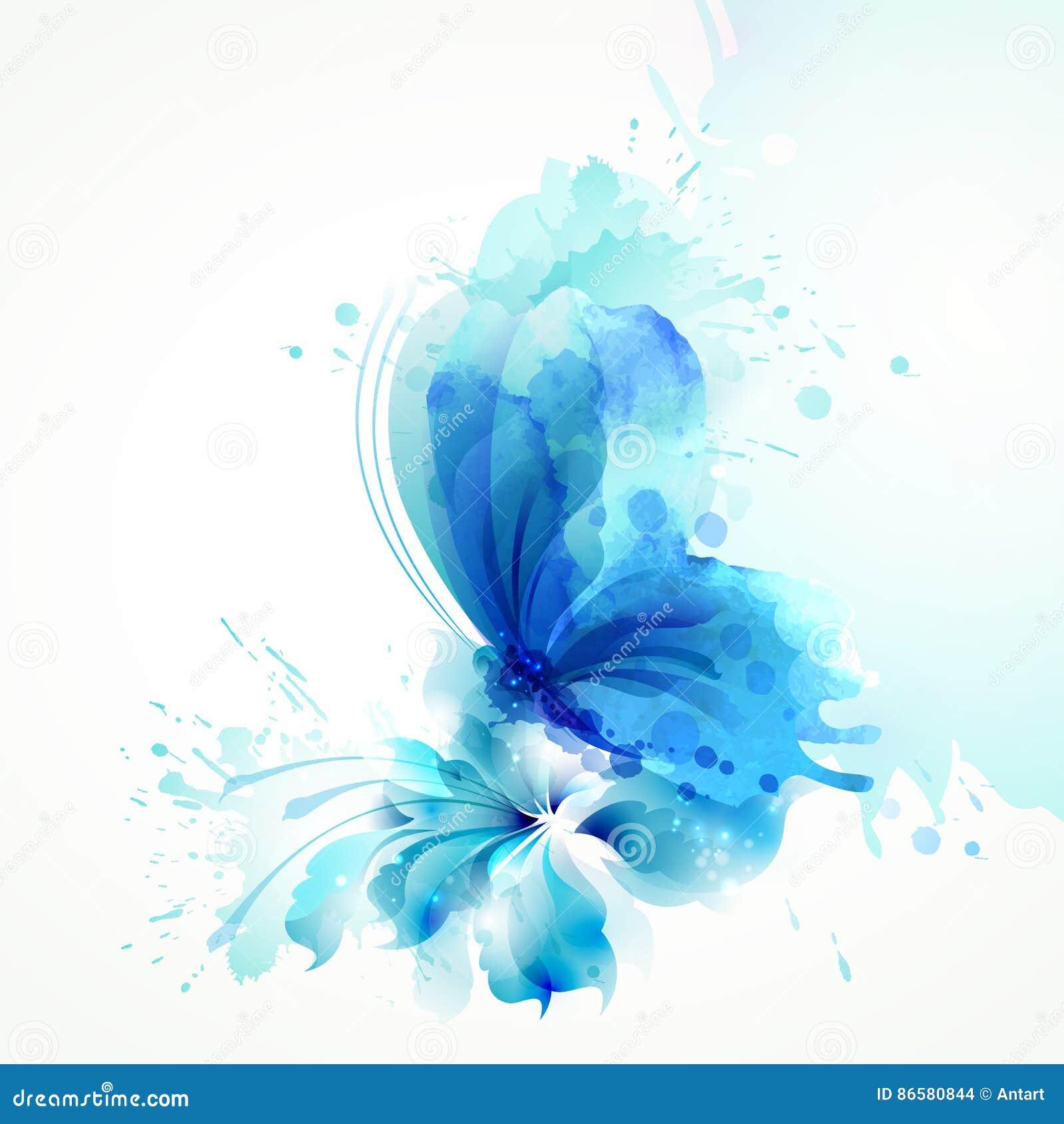 Pięknej akwareli abstrakcjonistyczny półprzezroczysty motyl na błękitnym kwiacie na białym tle