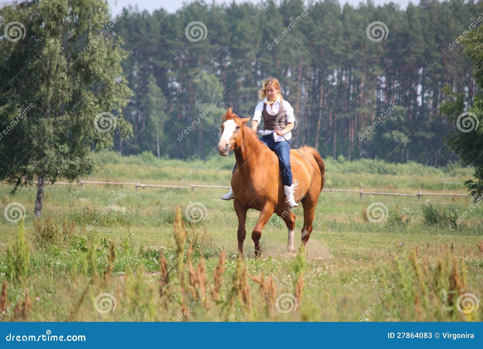 Pięknej blondynki kobiety jeździecki koń jeździecki