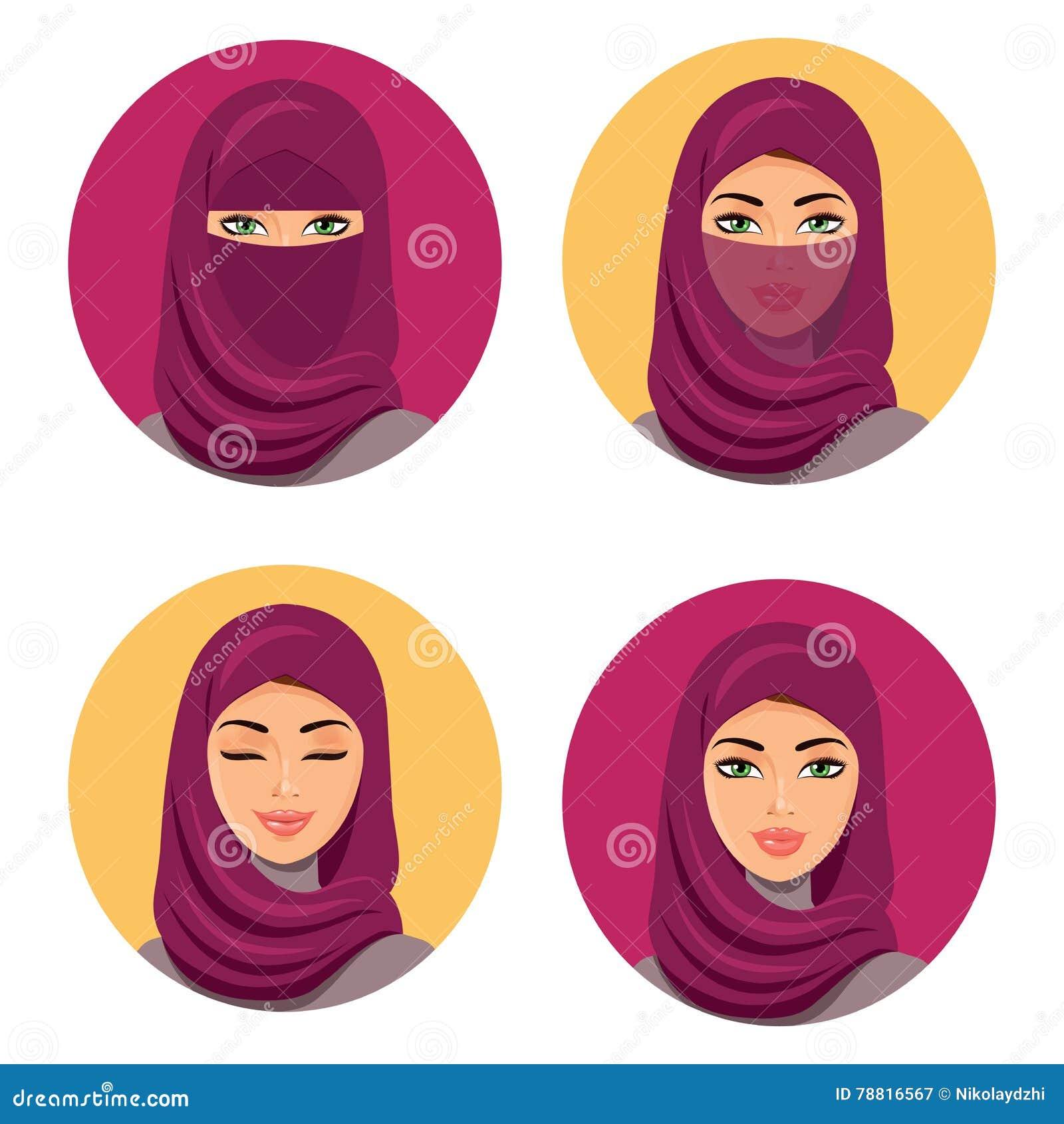 Pięknej mody kobiety młode arabskie ikony ustawiać Ustawia cztery Arabskiej dziewczyny w różnych tradycyjnych pióropuszach odosob