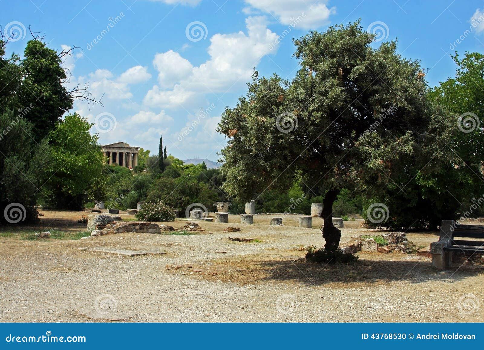 Piękni antyczni ogródy przy dnem akropol w Ateny,