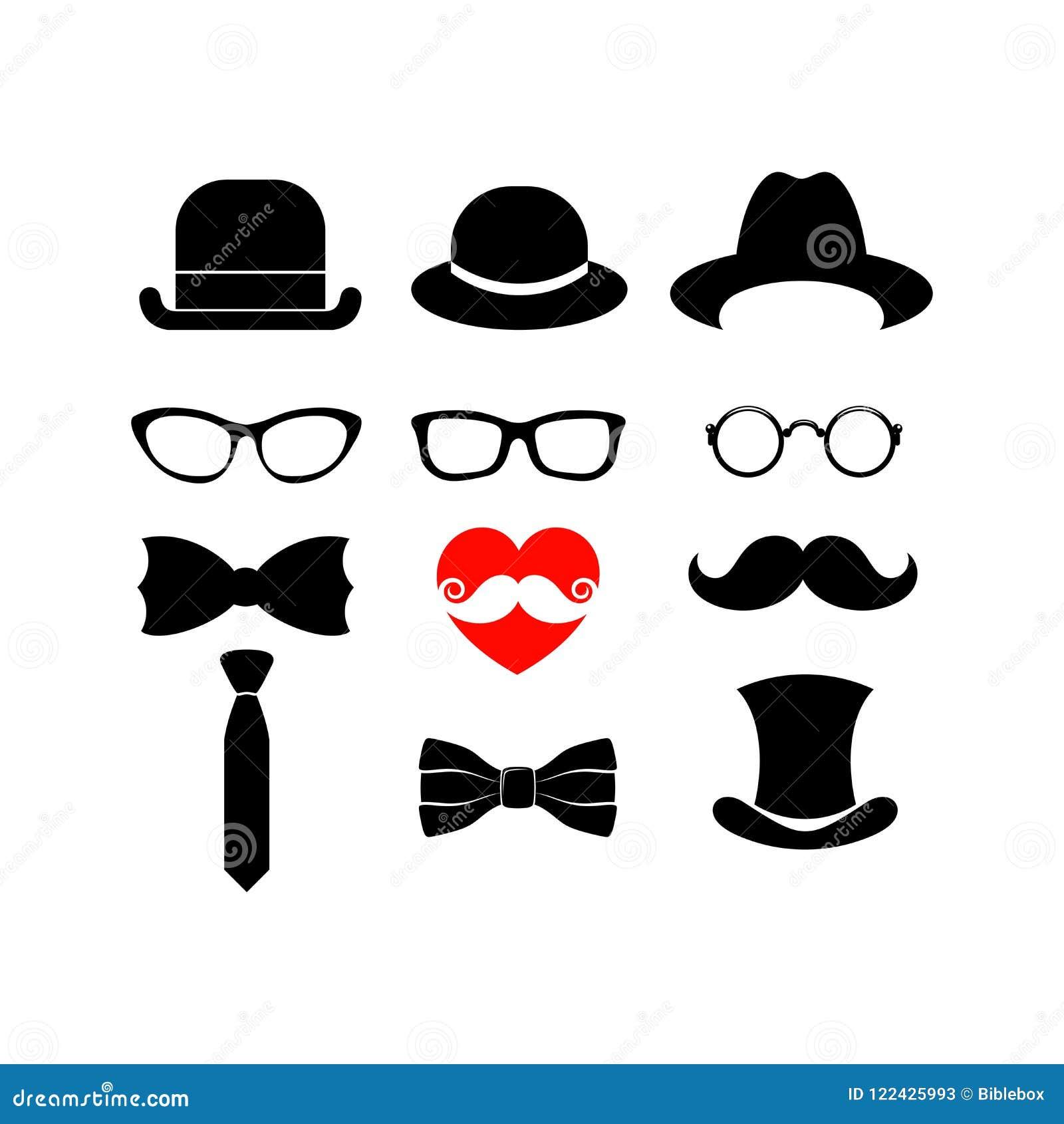 Piękni elementy dla kart z brodą, wąsami, kapeluszami i okularami przeciwsłonecznymi,