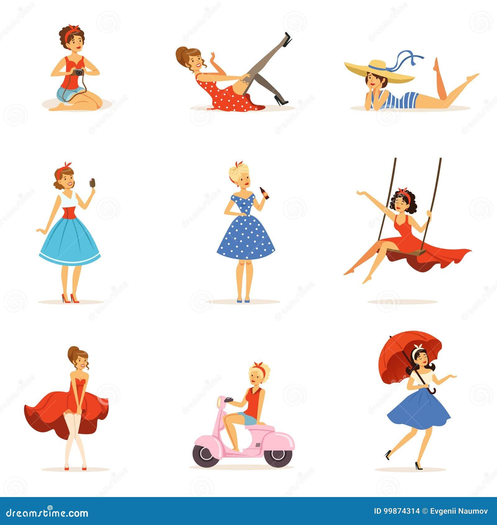 Piękni retro dziewczyna charaktery ustawiają, młode kobiety jest ubranym suknie w retro stylowych kolorowych wektorowych ilustrac
