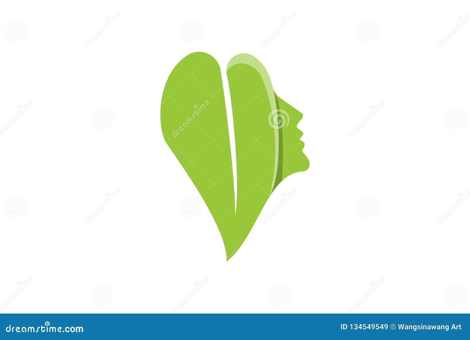Piękno kobiety liścia i twarzy logo Projektuje inspirację Odizolowywającą na Białym tle