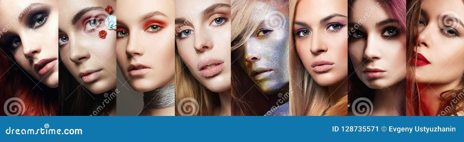 Piękno kolaż Kobiety Makeup, piękne dziewczyny