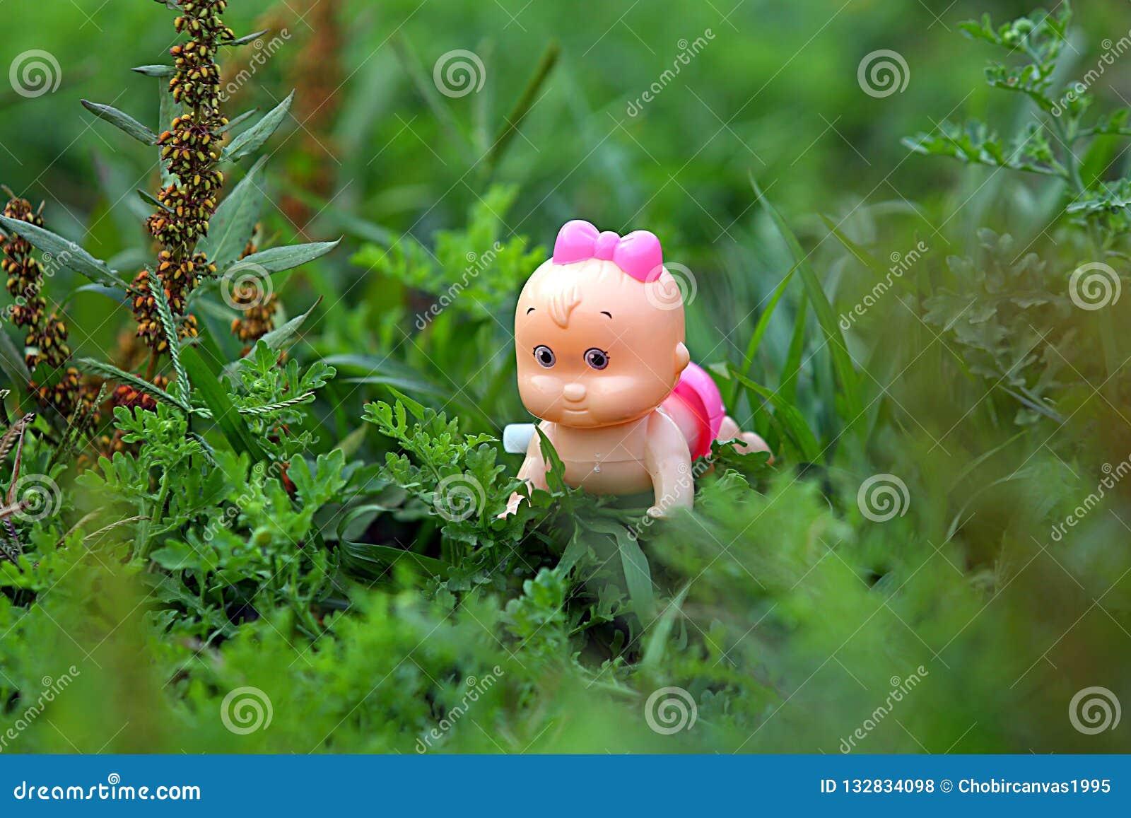 Piękno lala w z trawy tłem