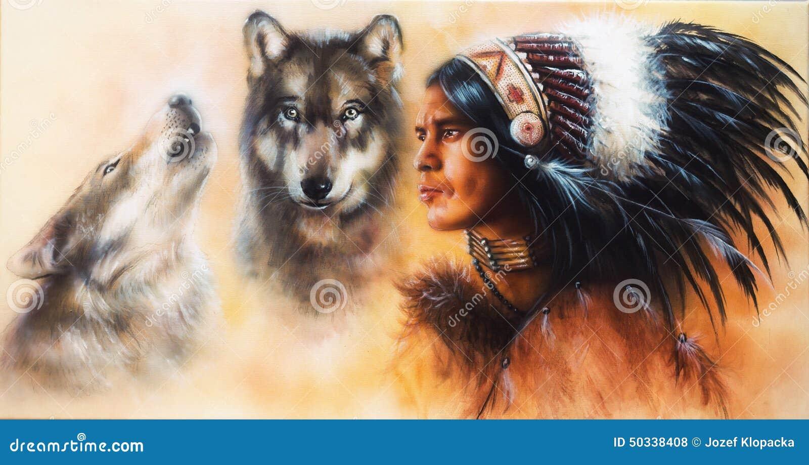 Piękny airbrush obraz młody indyjski wojownika accompani