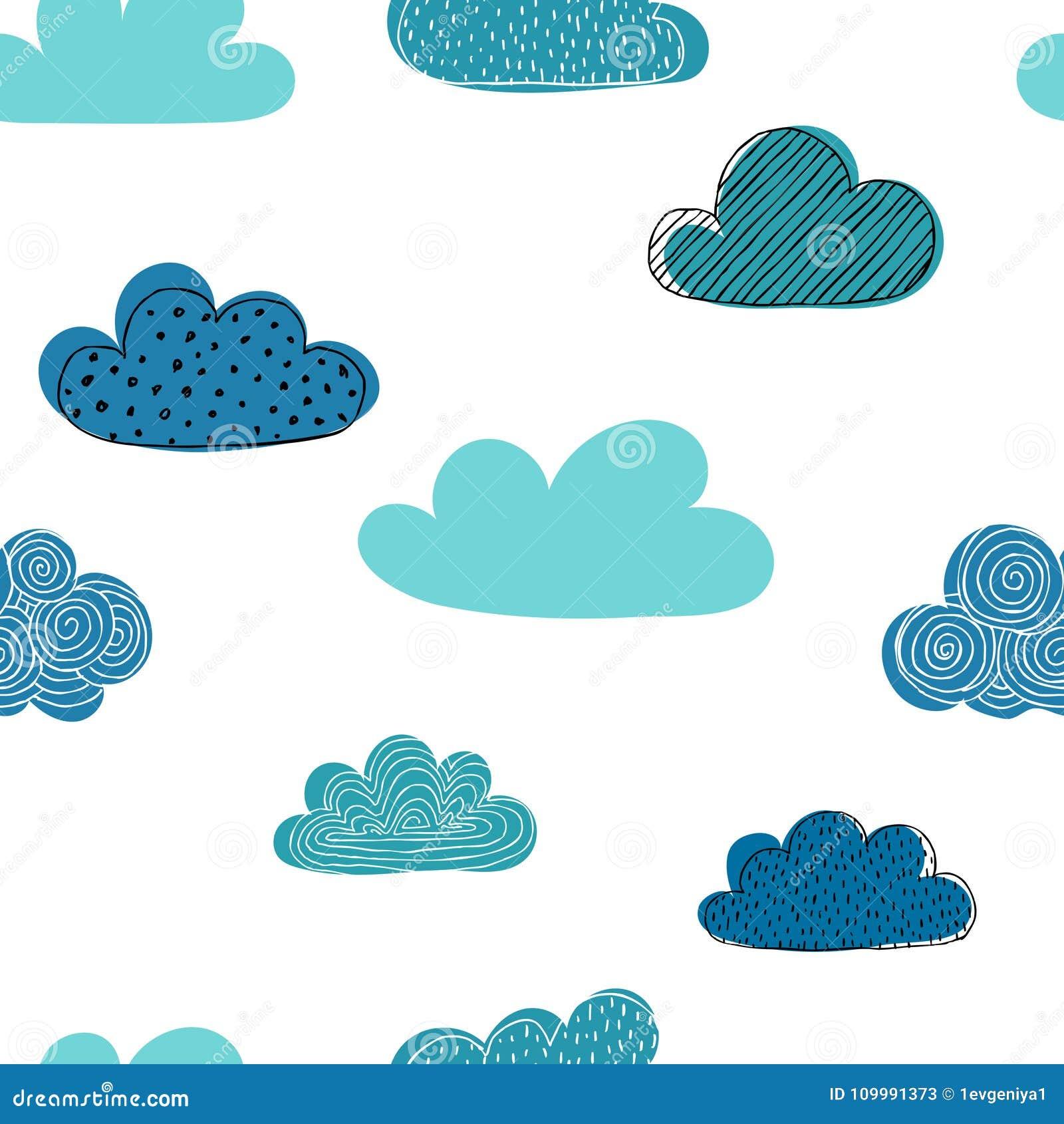 Piękny Bezszwowy Wzór Doodle Chmury Projektuje Tło Kartka Z
