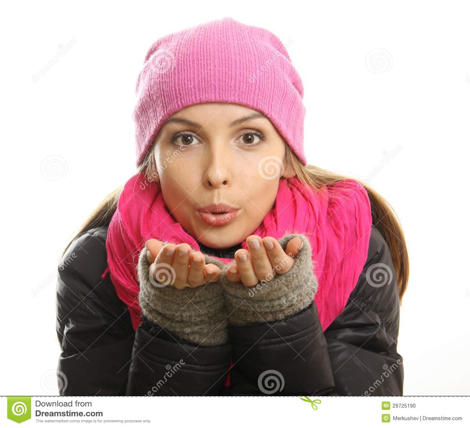 Zimy dziewczyny portret odizolowywający na białym tle.