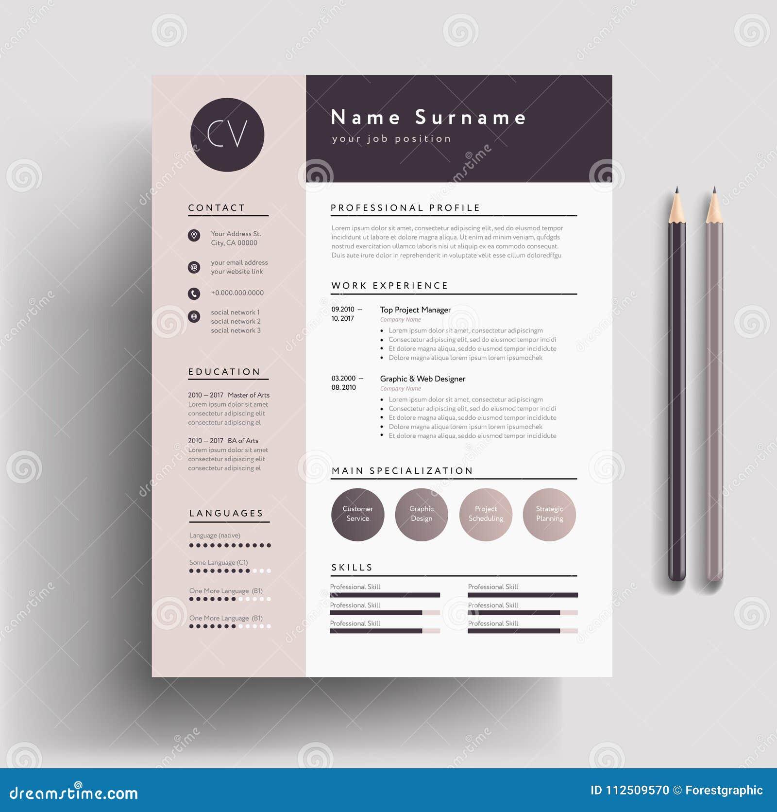 Piękny CV, życiorysu szablon zakurzony/- elegancki elegancki projekt -
