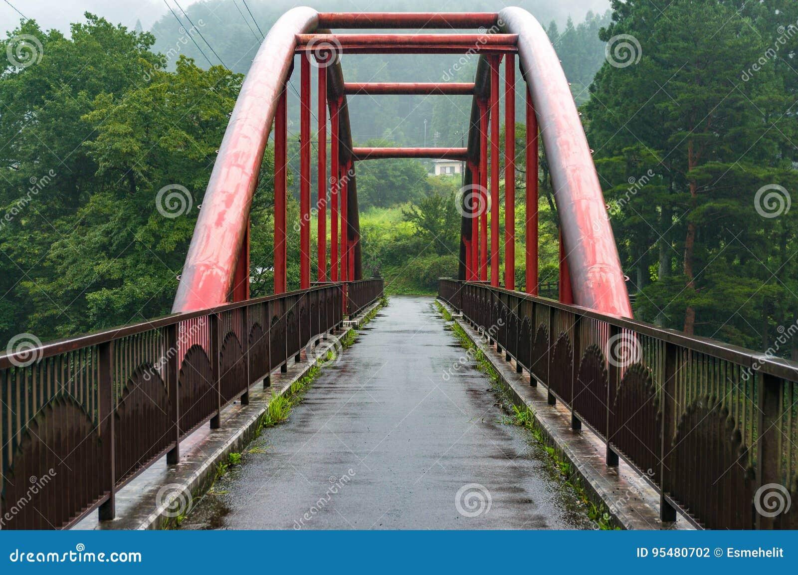 Piękny czerwień most w wiejskim Japonia