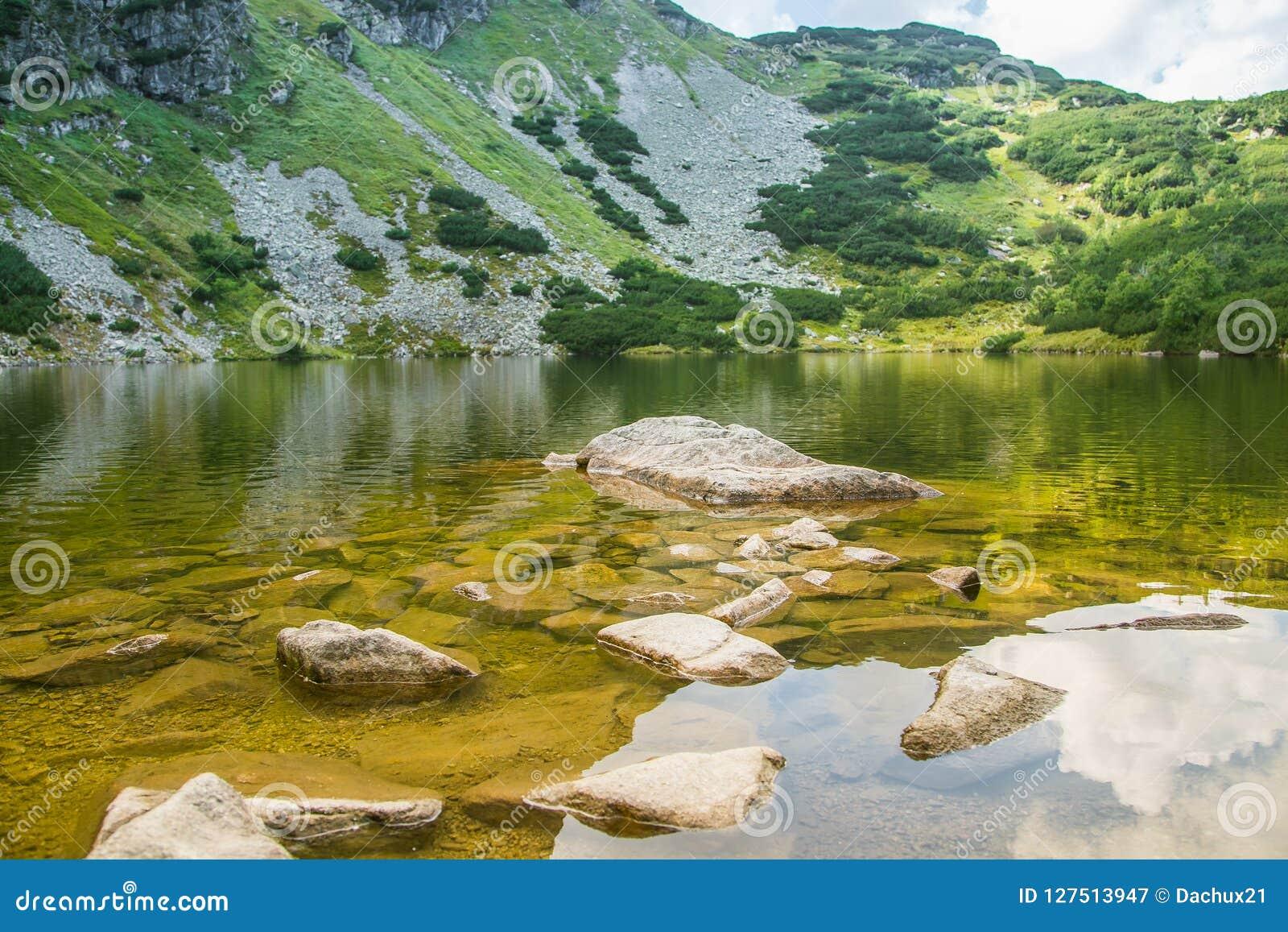 Piękny, czysty jezioro w halnej dolinie w spokoju, słoneczny dzień Góra krajobraz z wodą w lecie