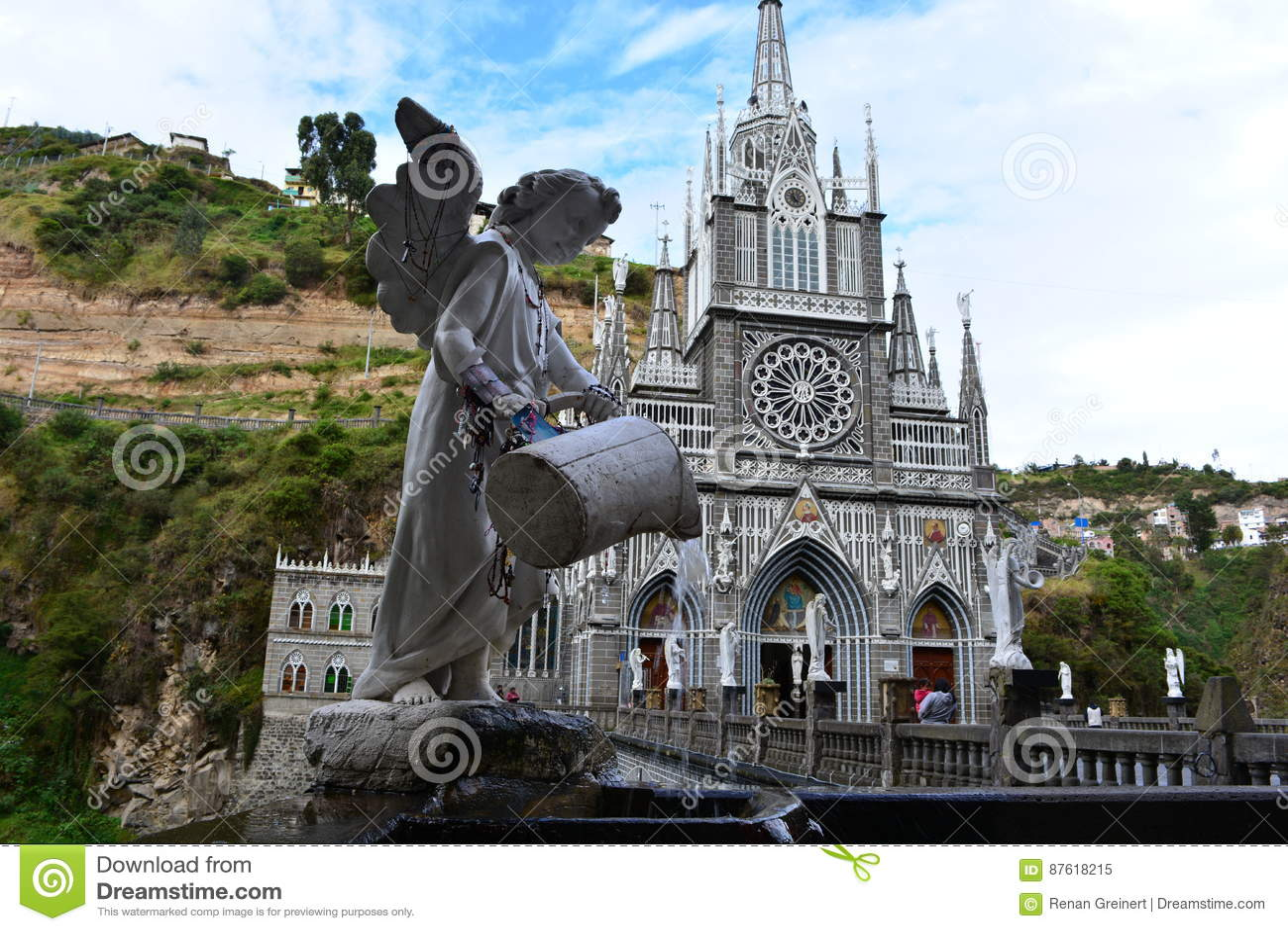 Piękny gothical kościół Las Lajas w Ipiales, Kolumbia
