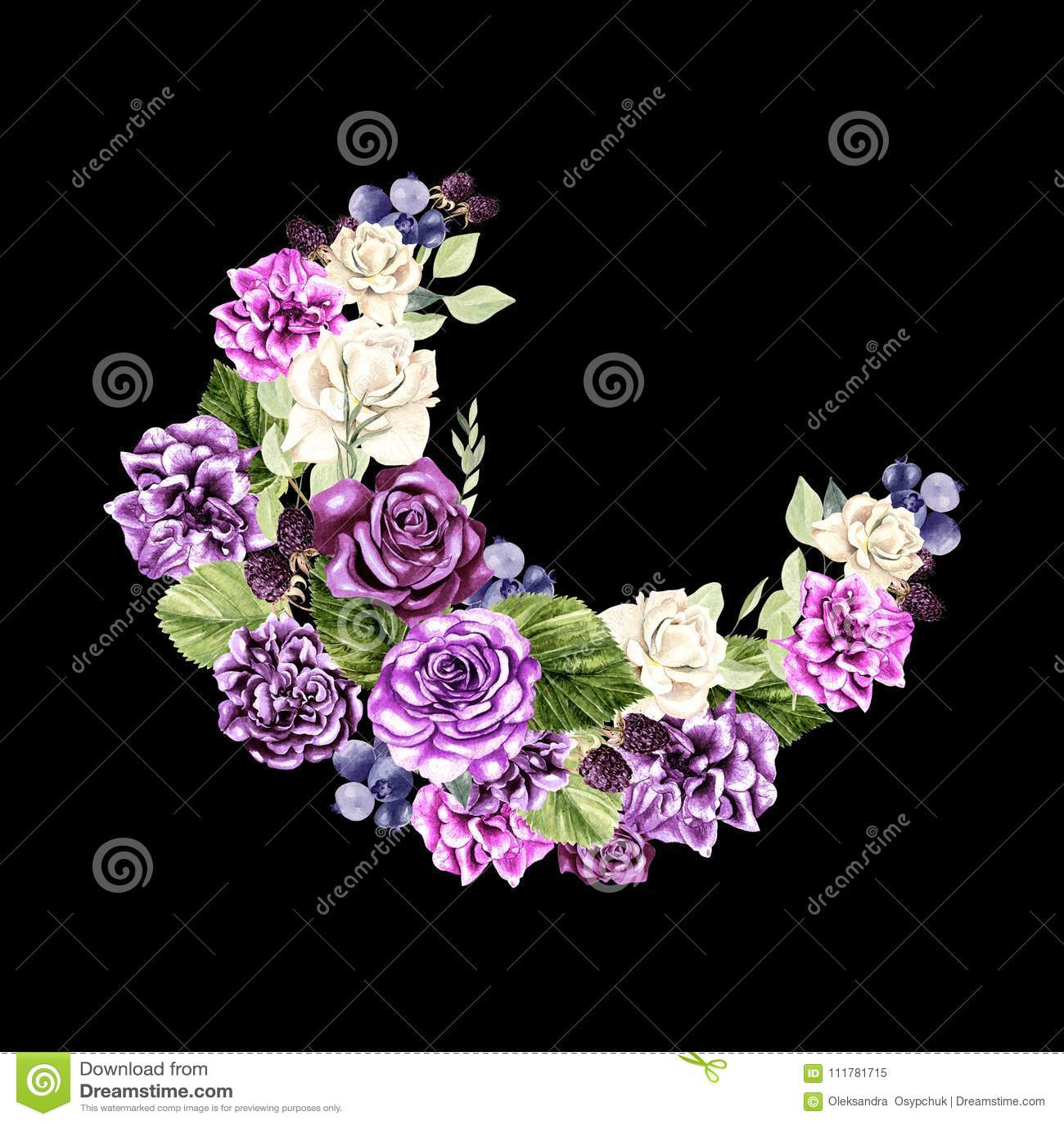 Piękny, jaskrawy akwarela wianek z różami, peonia, eukaliptus i berryes,