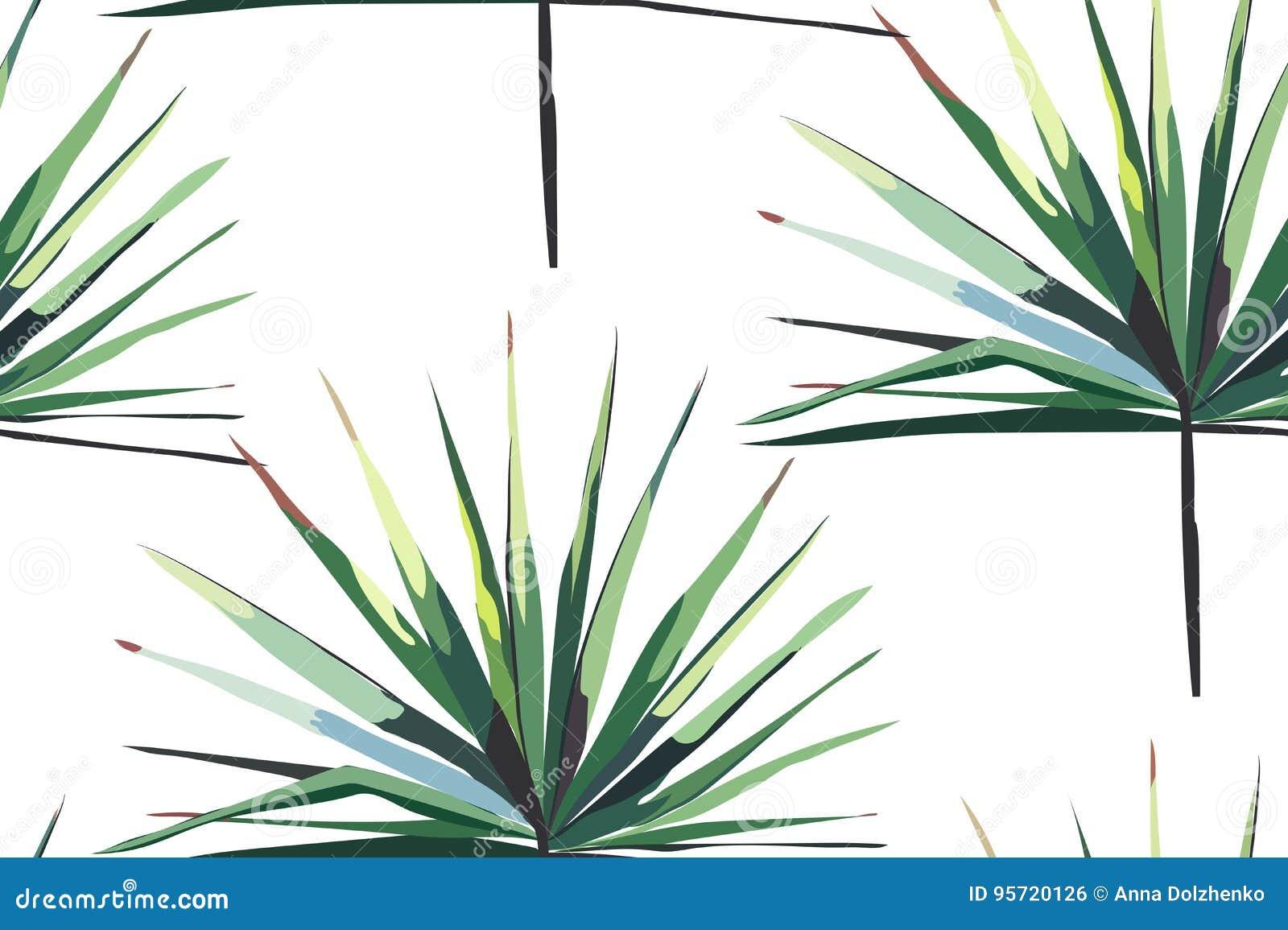 Piękny jaskrawy - zielonego tropikalnego cudownego Hawaii kwiecistego ziołowego lata horyzontalny bezszwowy wzór palma wektoru il