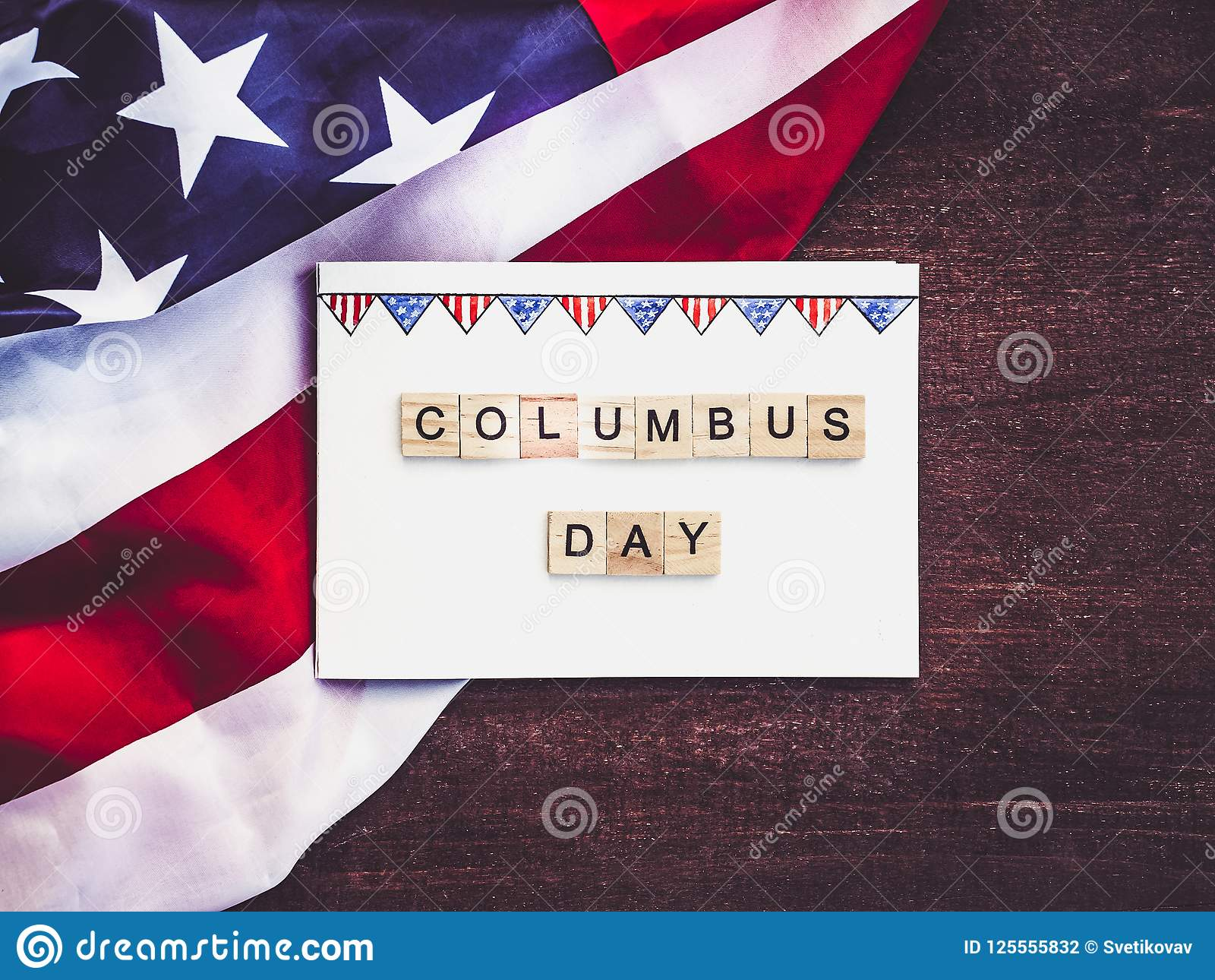 Piękny kartka z pozdrowieniami na Kolumb dniu Przygotowanie dla wakacje