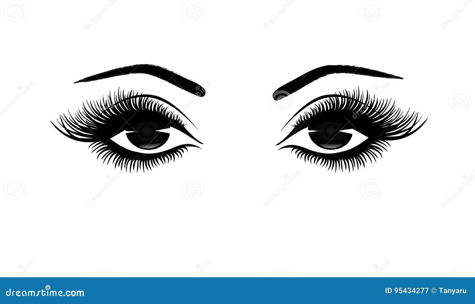 Piękny kobiety ` s przygląda się zakończenie, gęste długie rzęsy, czarny i biały wektorowa ilustracja
