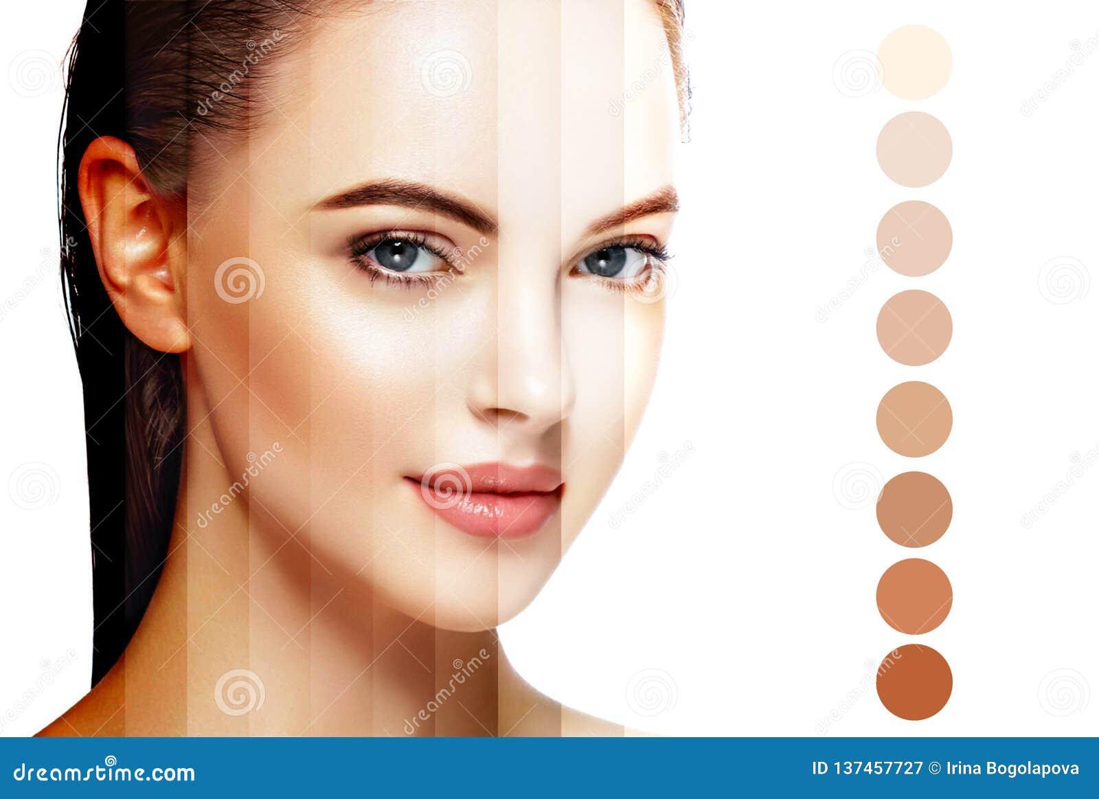 Piękny kobiety twarzy portreta piękna skóry opieki pojęcie Odizolowywający na bielu