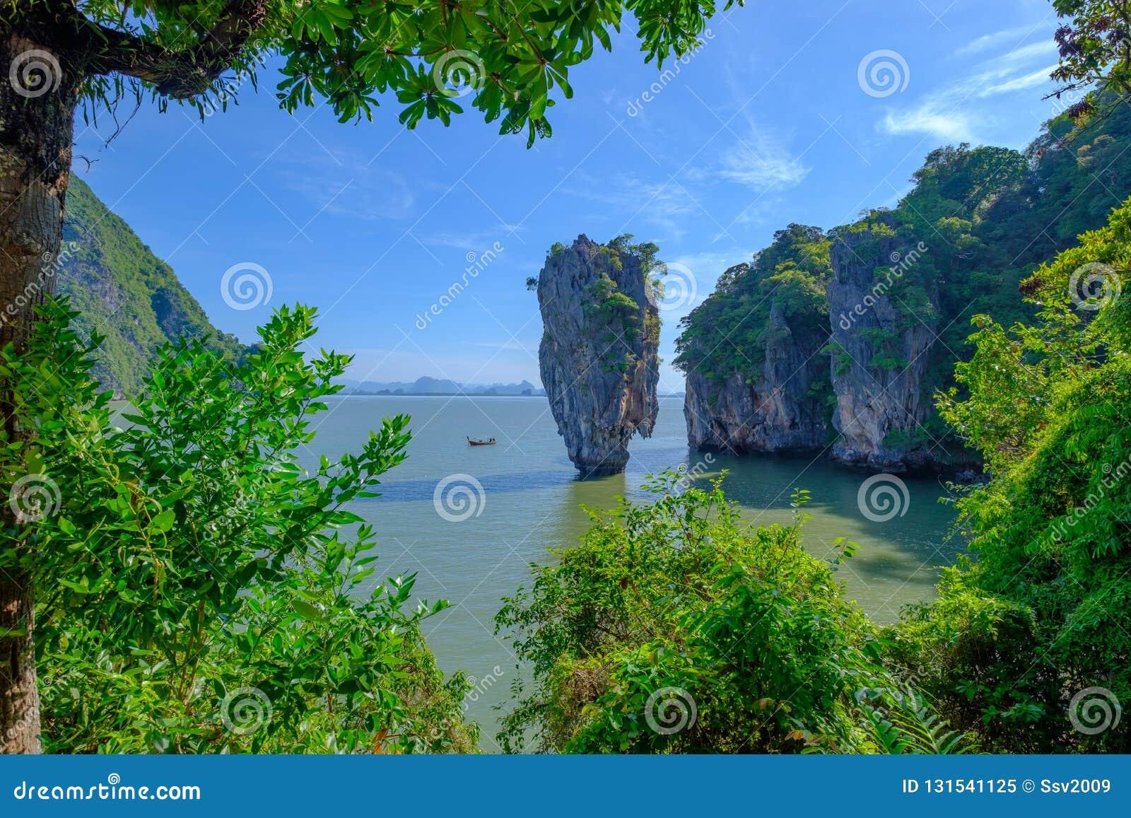 Piękny krajobraz James Bond Koh Tapu, Phang Nga zatoka, Tajlandia