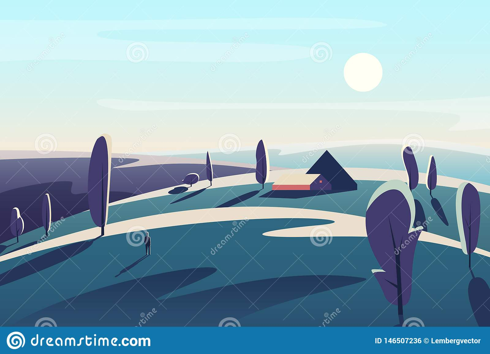 Piękny krajobraz z wioska domem w pole łąk abstrakcjonistycznej minimalistic wektorowej ilustracji