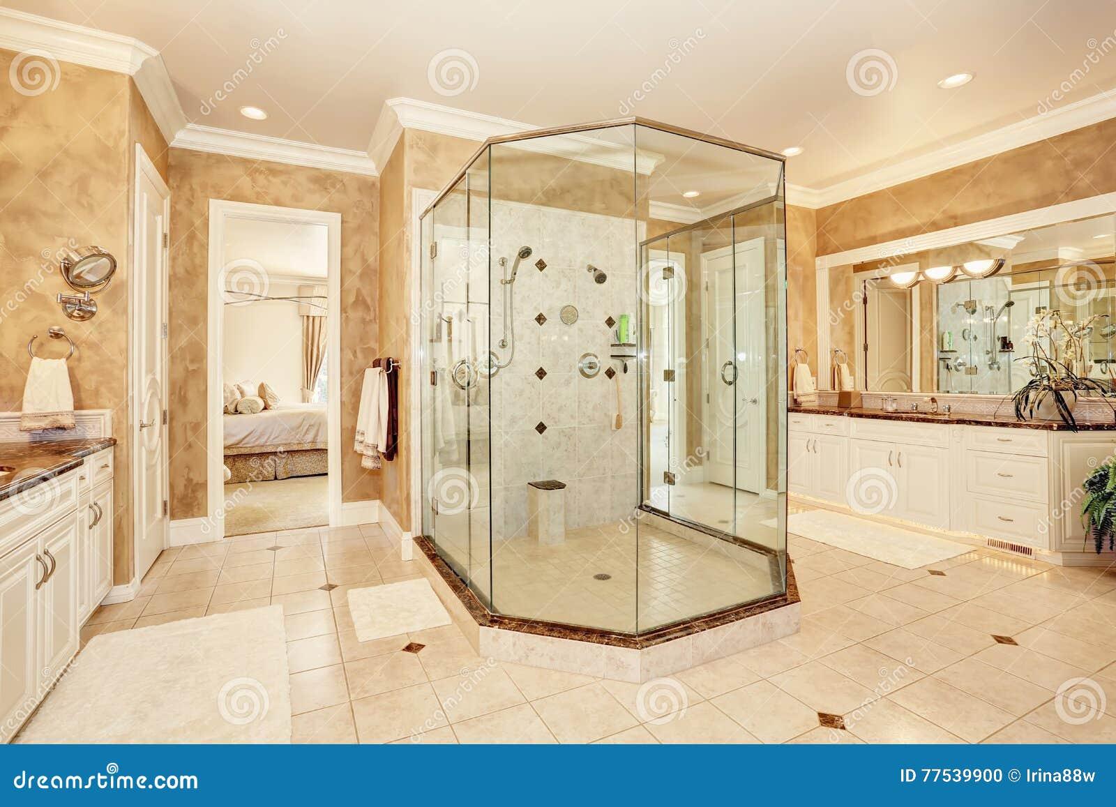 Piękny Luksusu Marmuru łazienki Wnętrze W Beżowym Kolorze